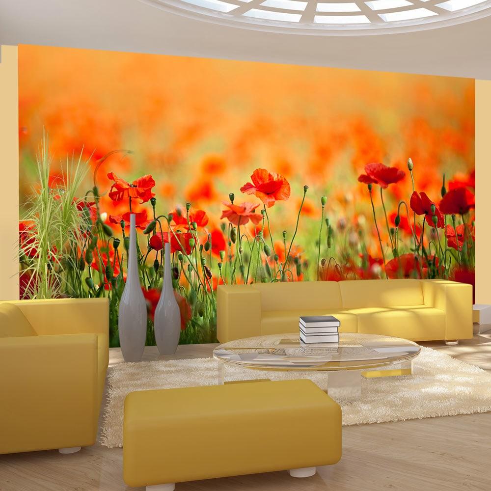 Artgeist Fototapete - Mohnblumen an einem heißen Tag