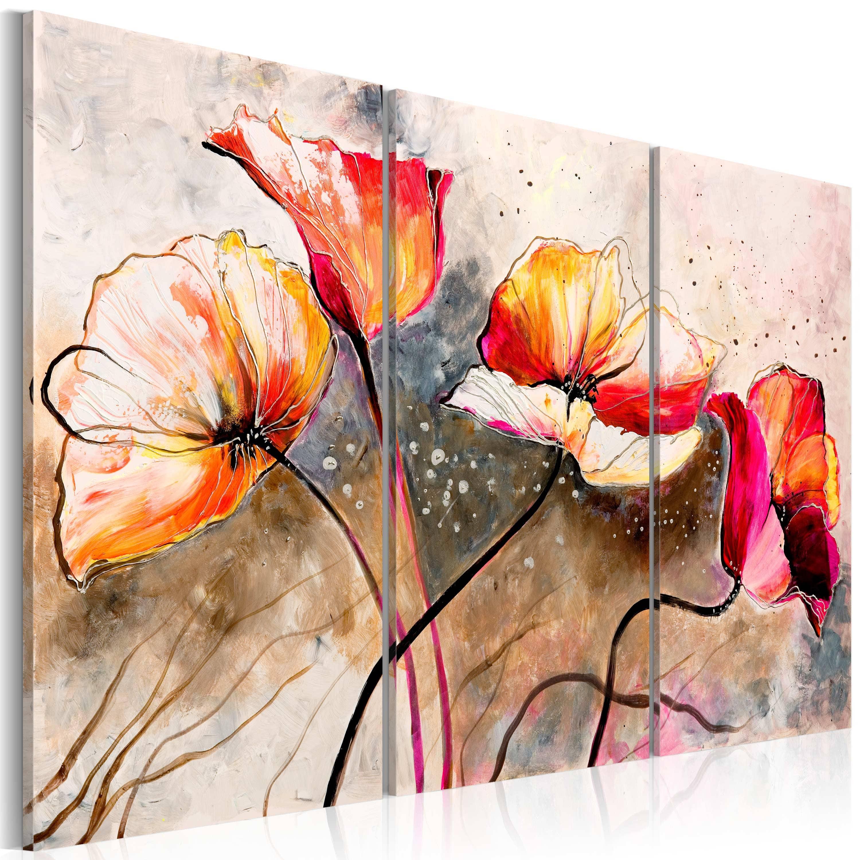 Artgeist Wandbild - Mohnblumen im Wind