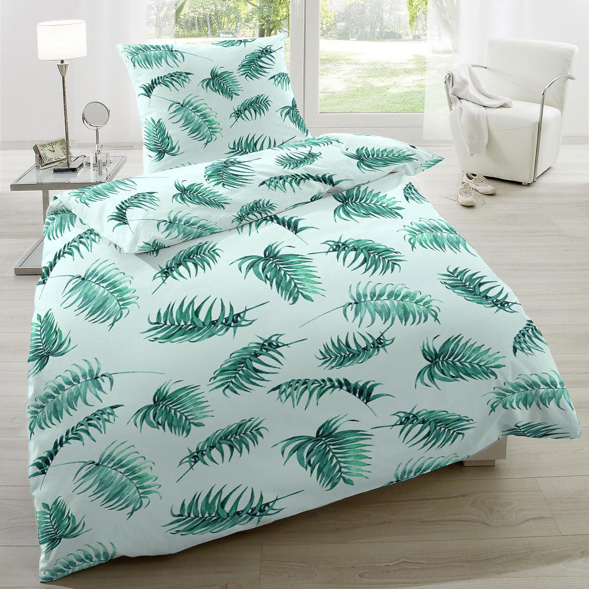 Enrico Coss Baumwoll-Seersucker Bettwäsche Palmblätter grün