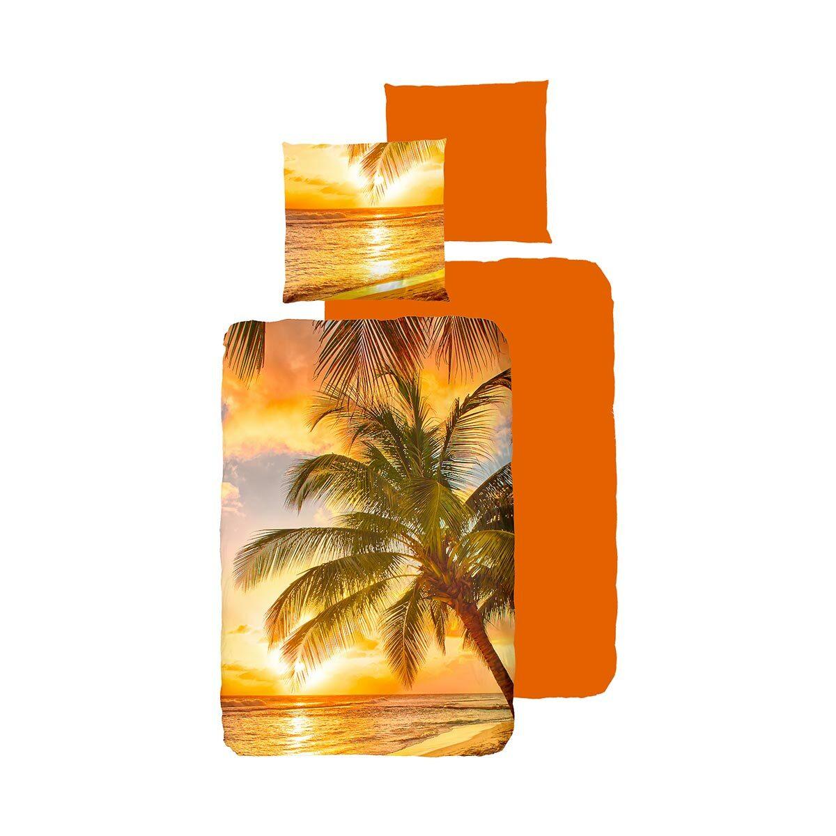 Traumschlaf Bettwäsche Palmen Sonnenuntergang