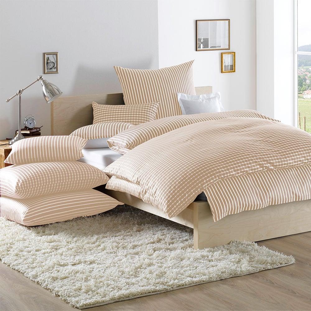 lorena bettw sche san remo streifen beige g nstig online kaufen bei bettwaren shop. Black Bedroom Furniture Sets. Home Design Ideas