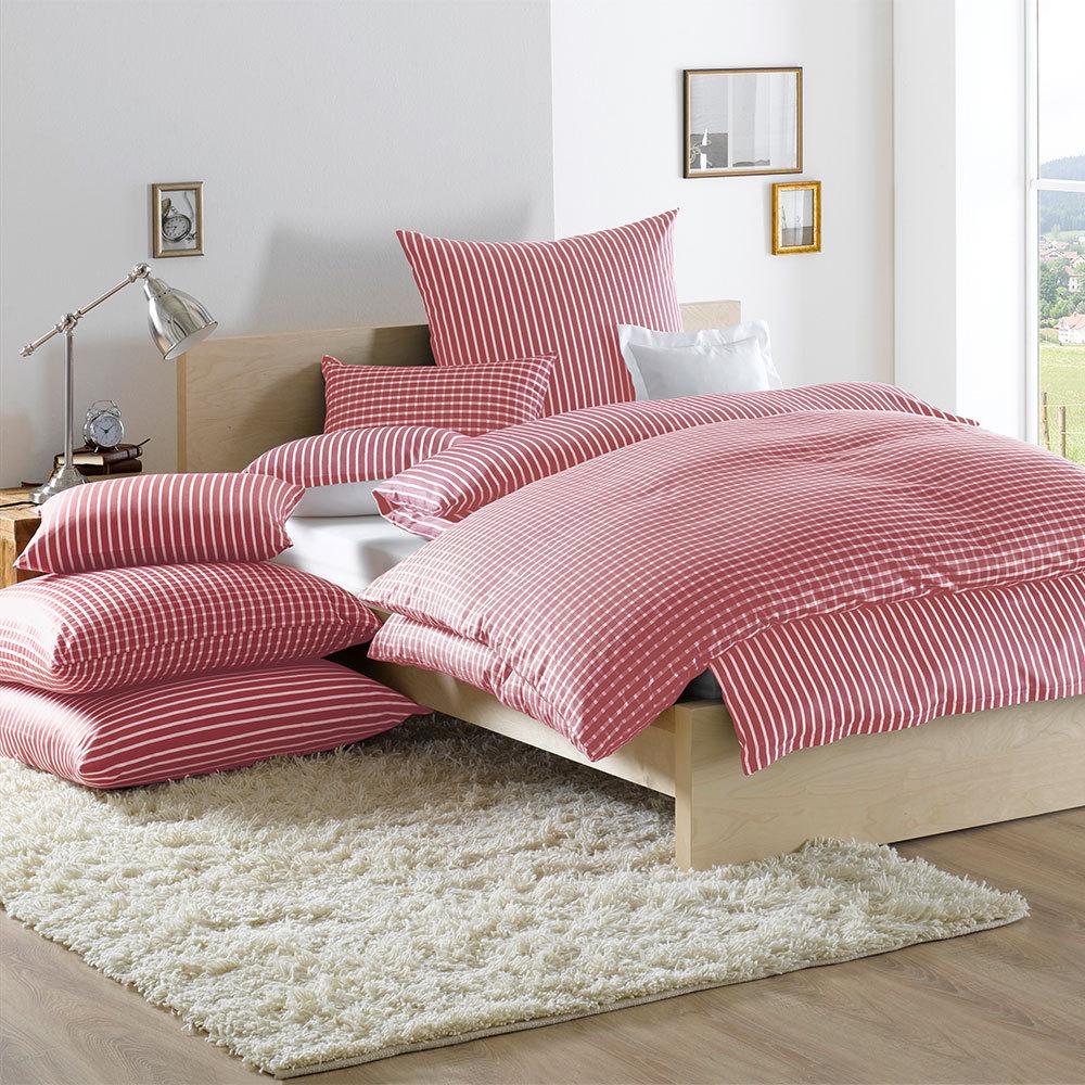 lorena bettw sche san remo streifen rot g nstig online kaufen bei bettwaren shop. Black Bedroom Furniture Sets. Home Design Ideas