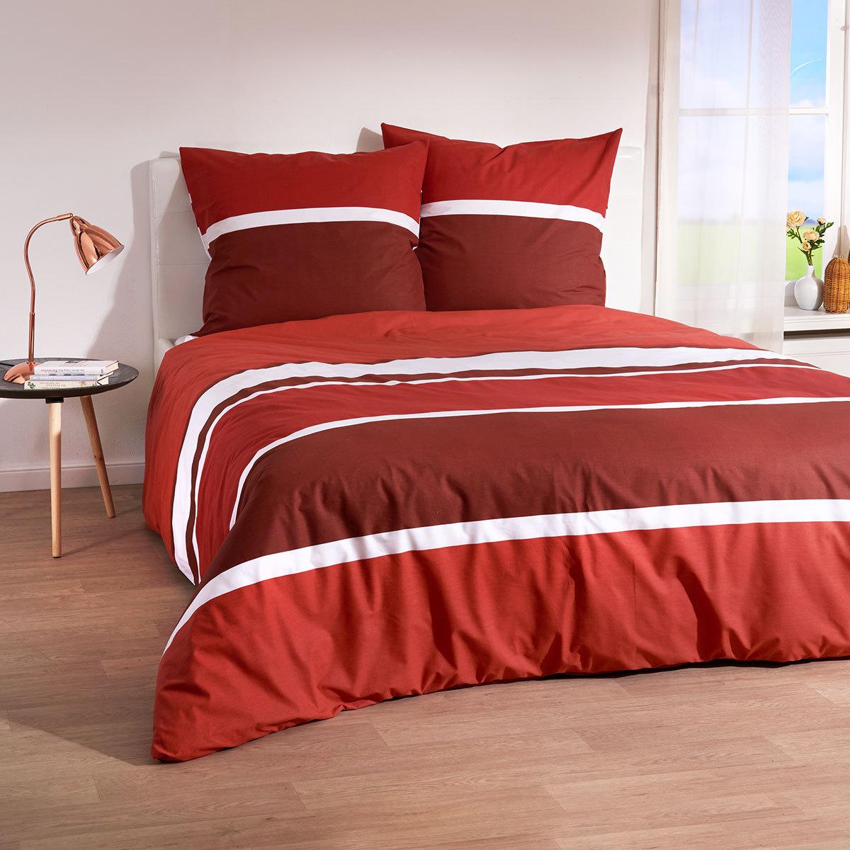 Traumschlaf Bettwäsche Streifen Rot Günstig Online Kaufen Bei