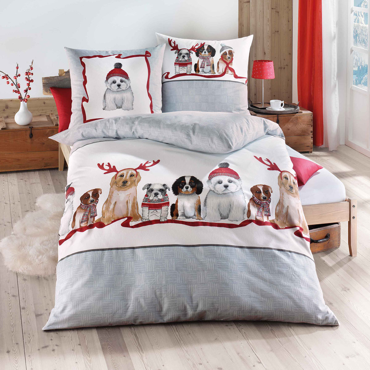 traumschlaf biber bettw sche dogs g nstig online kaufen. Black Bedroom Furniture Sets. Home Design Ideas