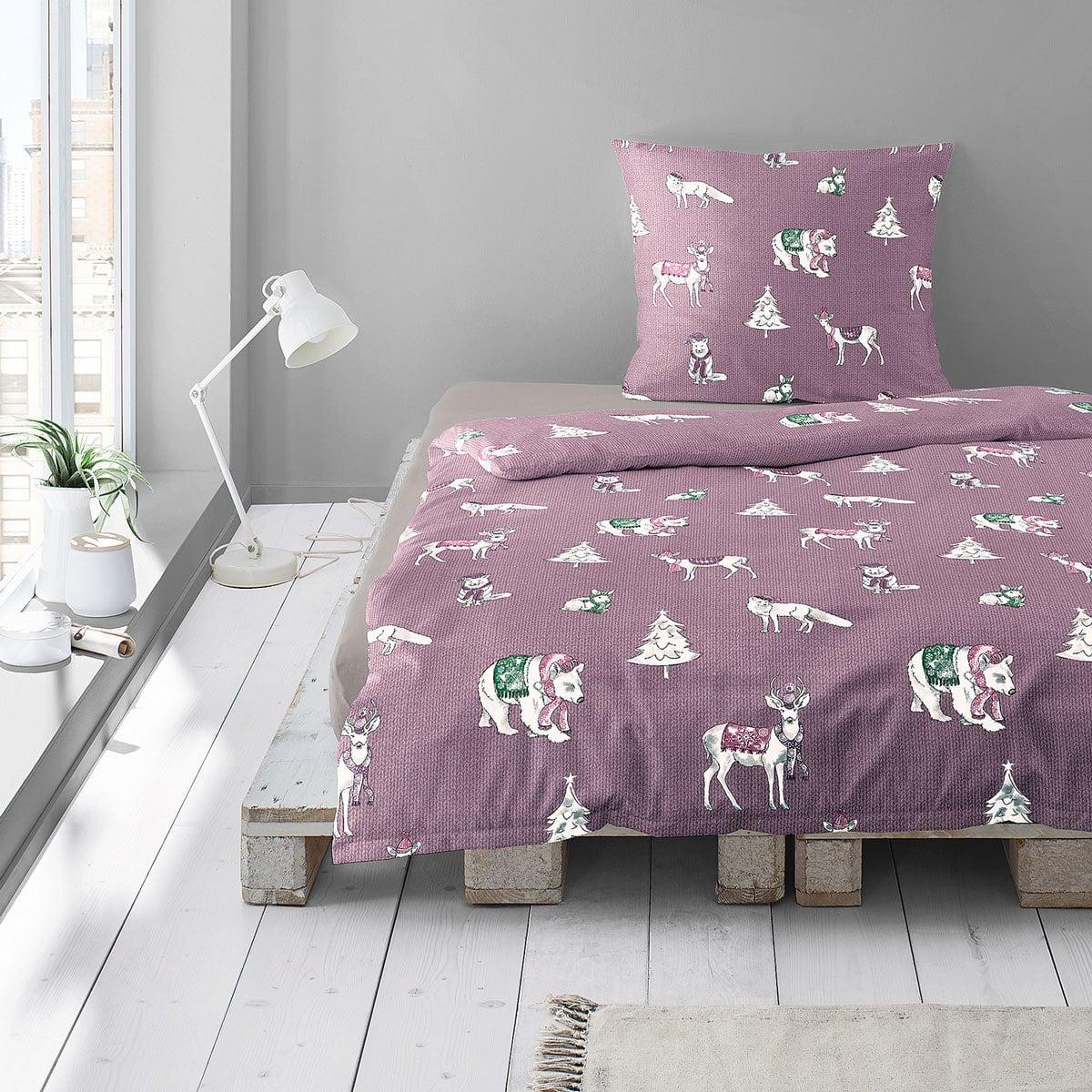 Irisette Biber Bettwäsche Dublin Füchse Hasen Bären lila