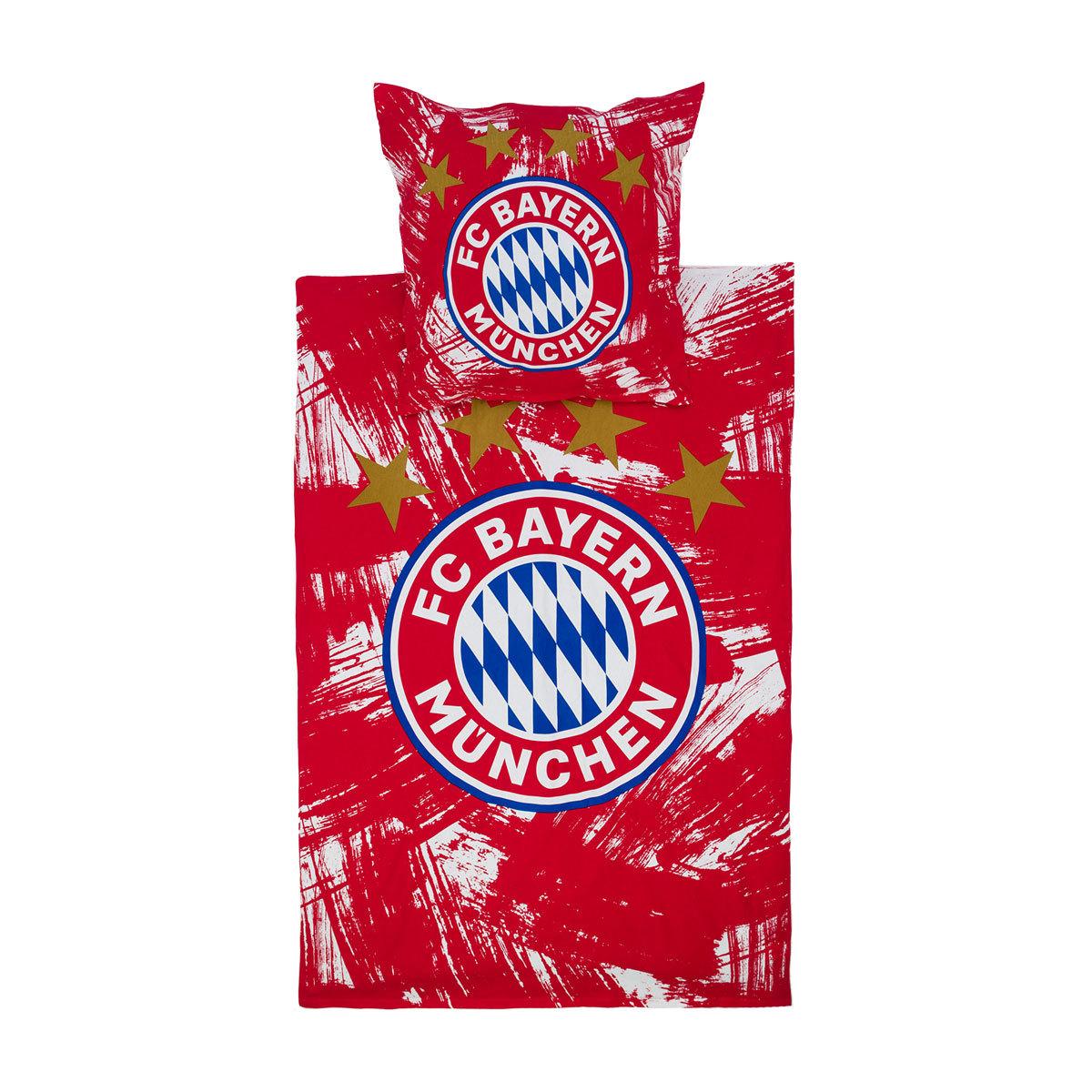 FC Bayern München Biber Bettwäsche Emblem rot/weiss