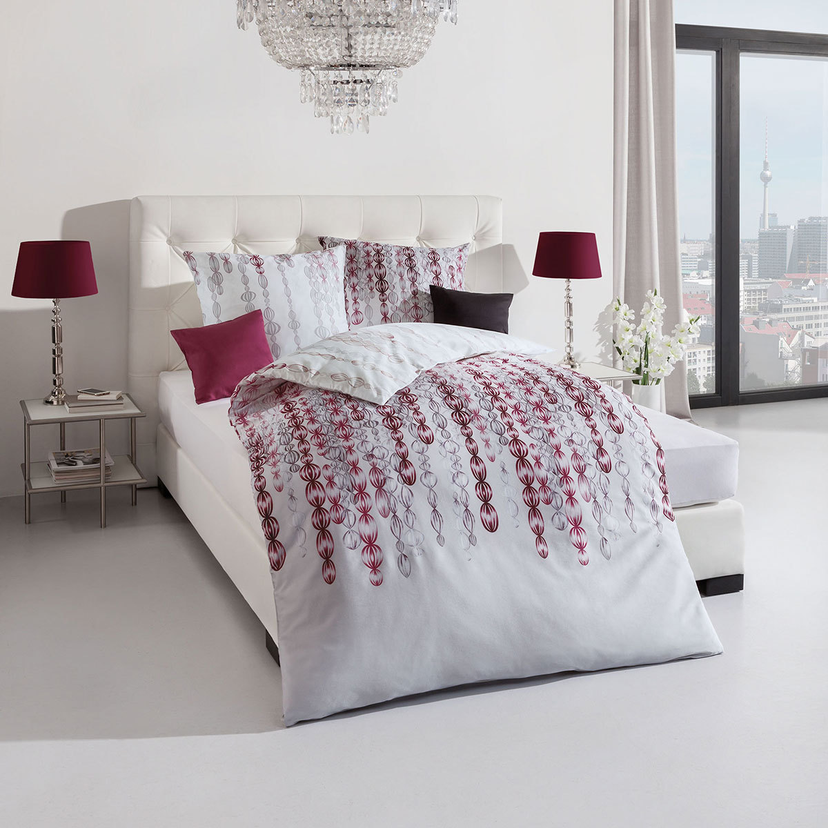 kaeppel biber bettw sche pearls burgund g nstig online kaufen bei bettwaren shop. Black Bedroom Furniture Sets. Home Design Ideas