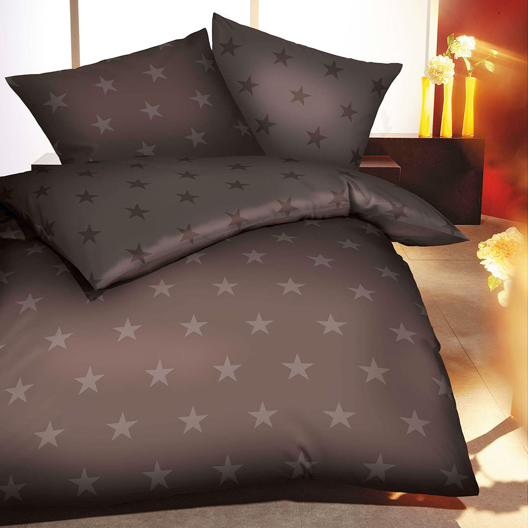 bettwarenshop biber bettw sche stars braun g nstig online kaufen bei bettwaren shop. Black Bedroom Furniture Sets. Home Design Ideas