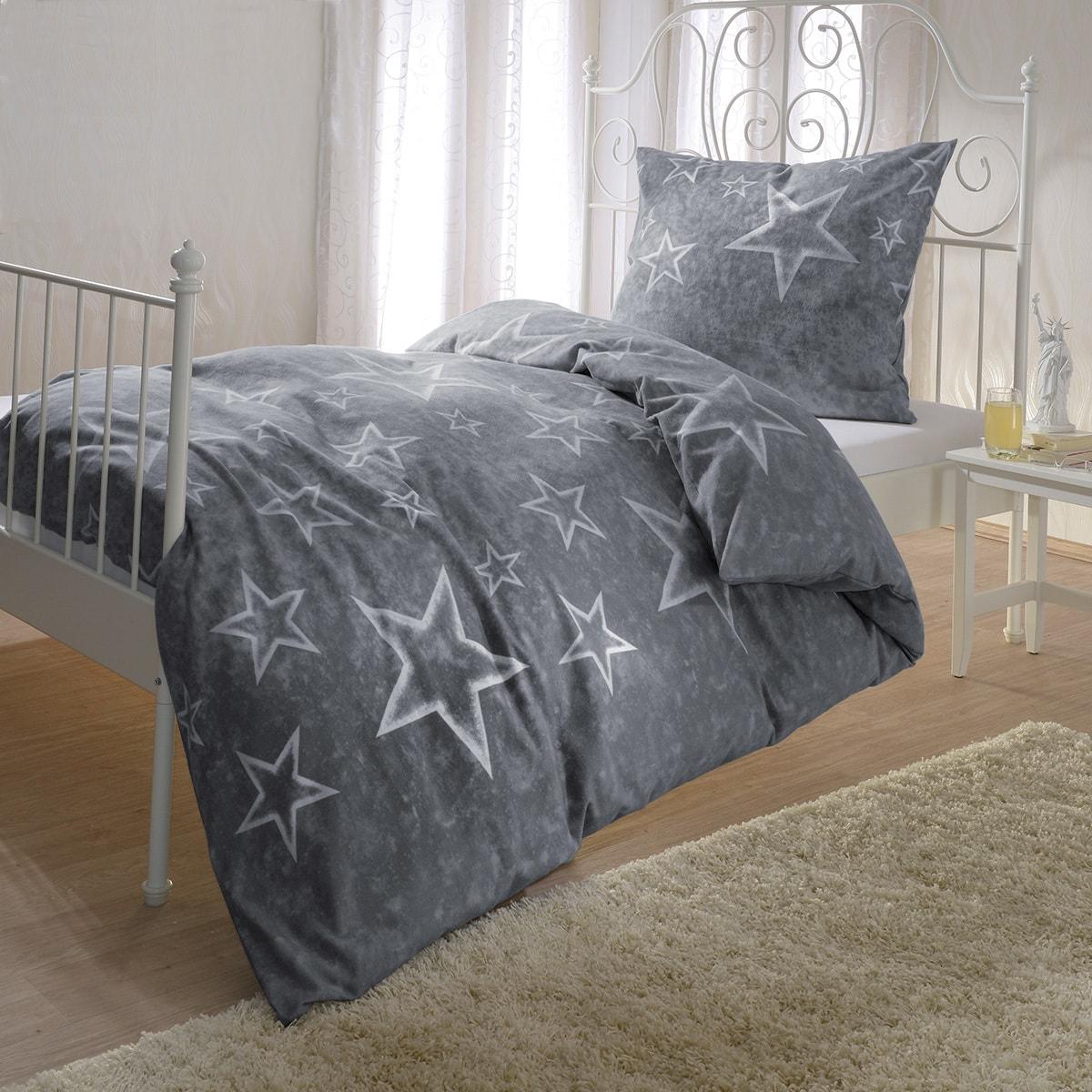 bettwarenshop biber bettw sche sterne anthrazit g nstig. Black Bedroom Furniture Sets. Home Design Ideas