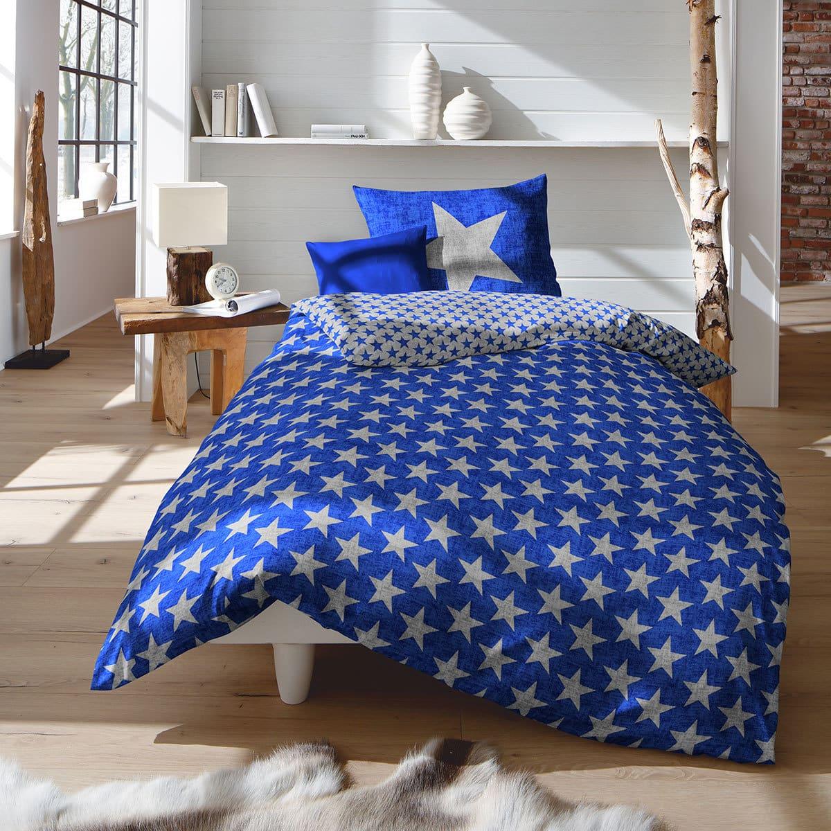 Fleuresse Biber Bettwäsche Sterne Blau Günstig Online Kaufen Bei