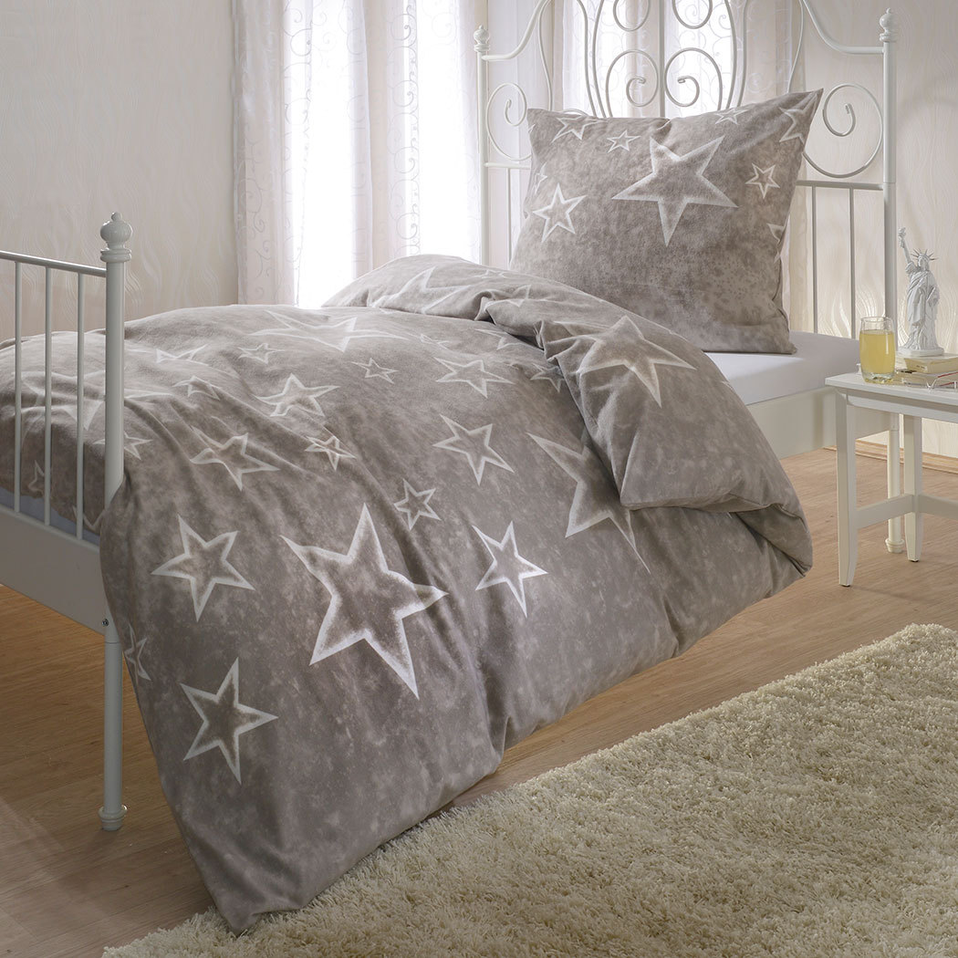 bettwarenshop biber bettw sche sterne taupe g nstig online kaufen bei bettwaren shop. Black Bedroom Furniture Sets. Home Design Ideas