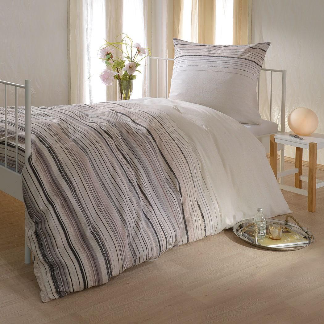 Bettwarenshop Biber Bettwäsche Streifen Beige Günstig Online Kaufen