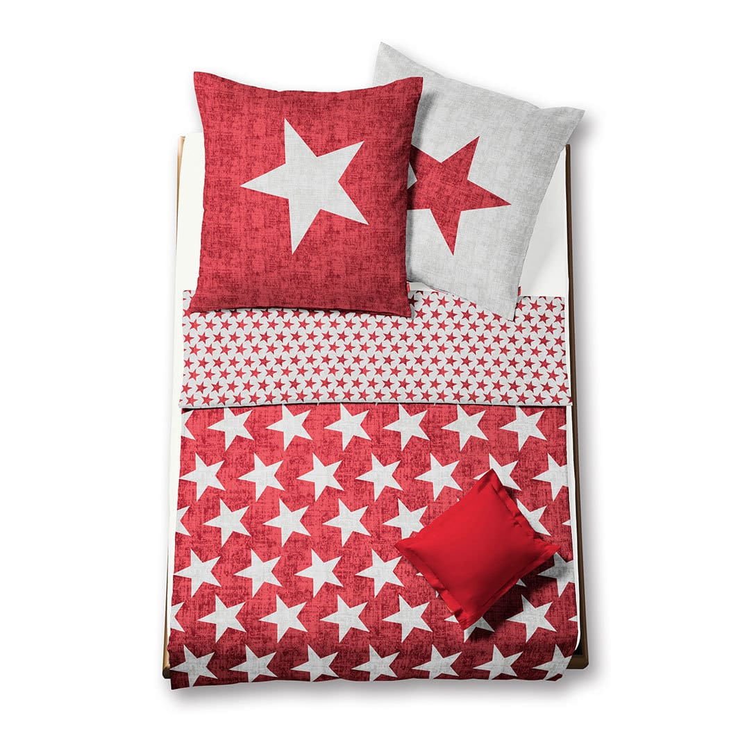 fleuresse biber wendebettw sche aspen sterne rot g nstig. Black Bedroom Furniture Sets. Home Design Ideas