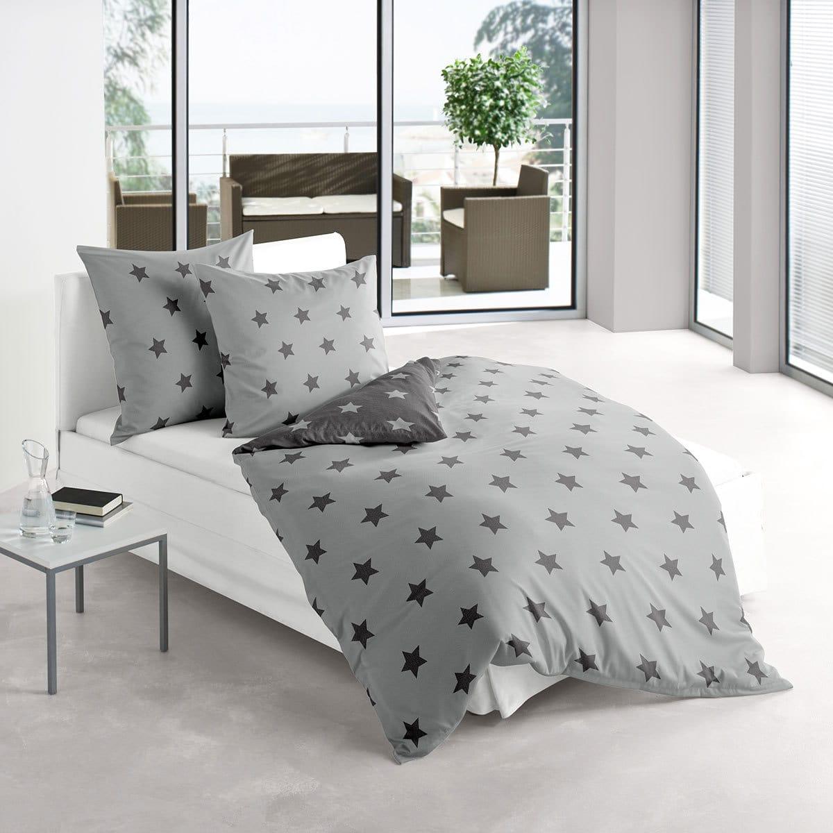 irisette biber wendebettw sche dublin sterne anthrazit 8658 12 g nstig online kaufen bei. Black Bedroom Furniture Sets. Home Design Ideas