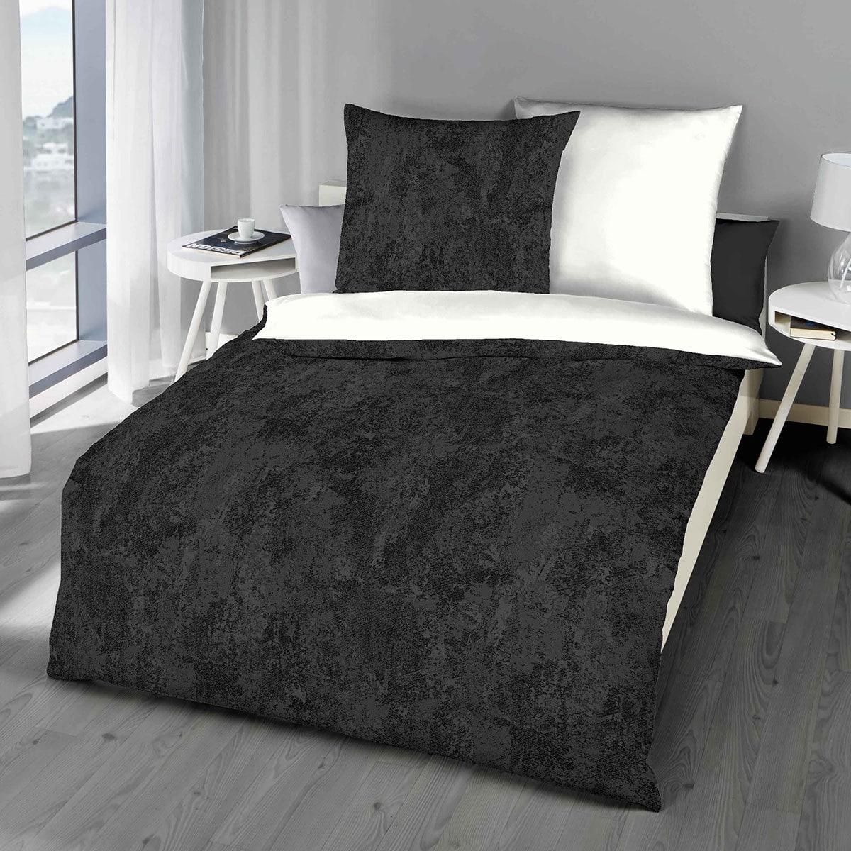 traumschlaf biber wendebettw sche texture schwarz g nstig online kaufen bei bettwaren shop. Black Bedroom Furniture Sets. Home Design Ideas
