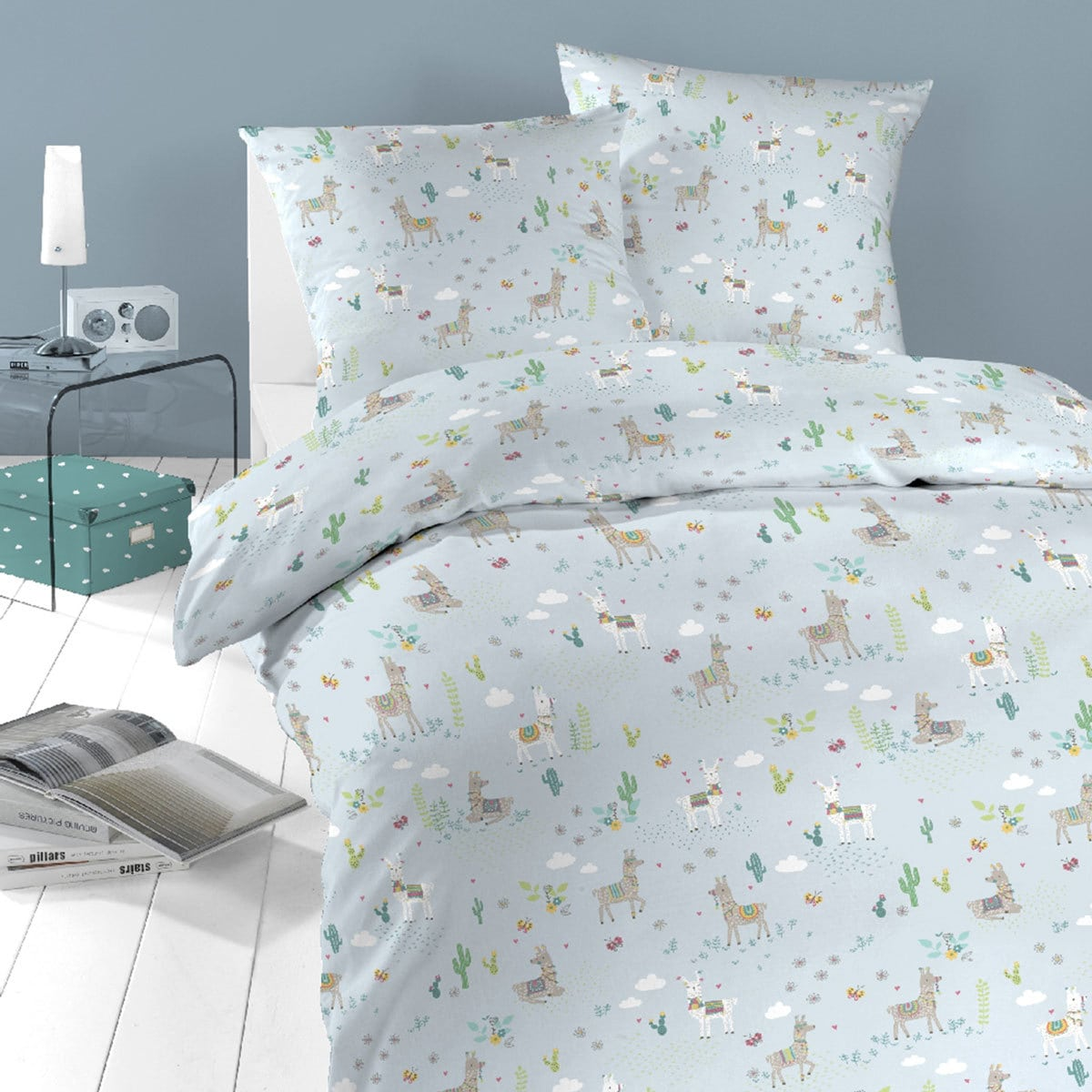 Schlafgut Daily Cotton Bettwäsche Lama himmelblau