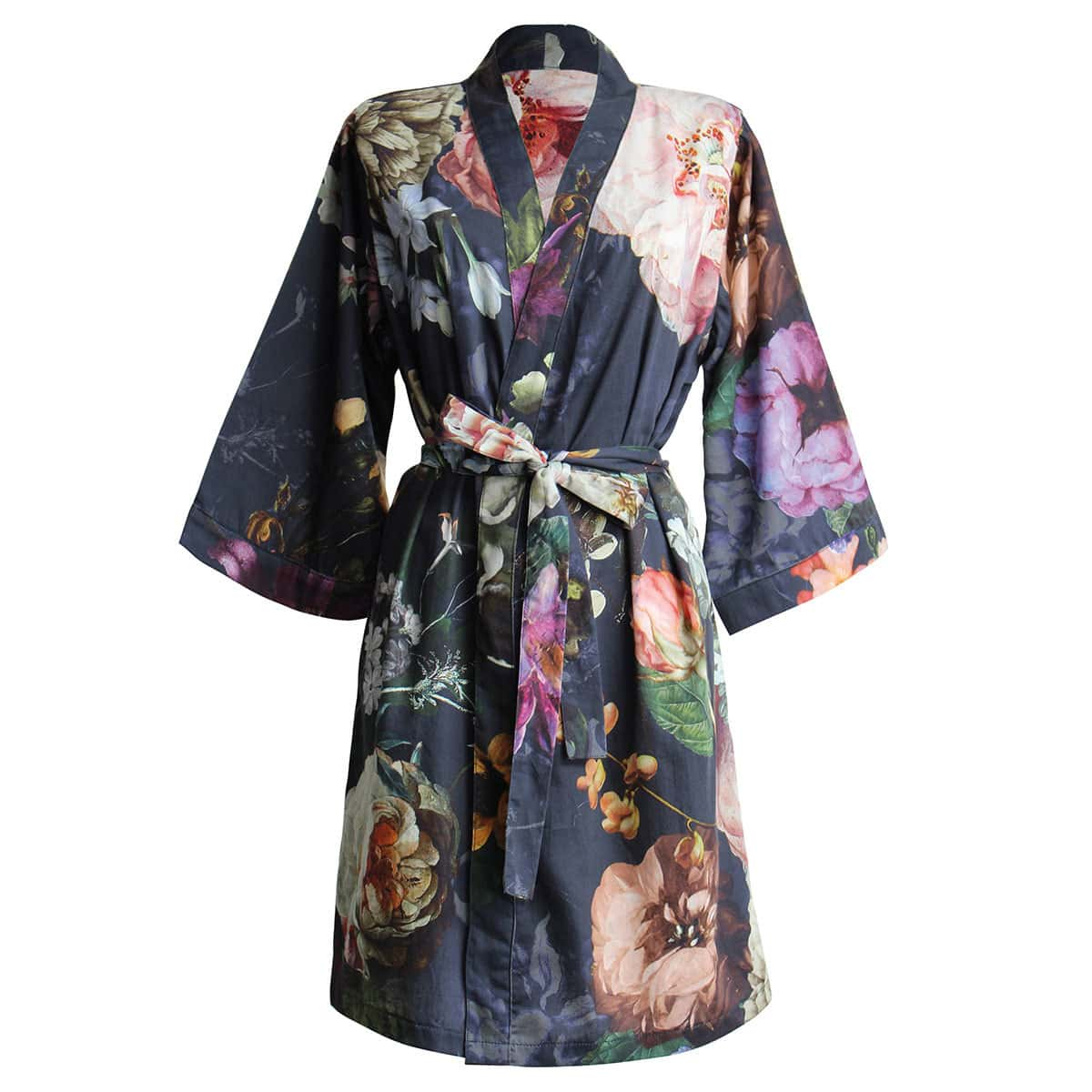essenza damen bademantel kimono fleur nightblue g nstig online kaufen bei bettwaren shop. Black Bedroom Furniture Sets. Home Design Ideas