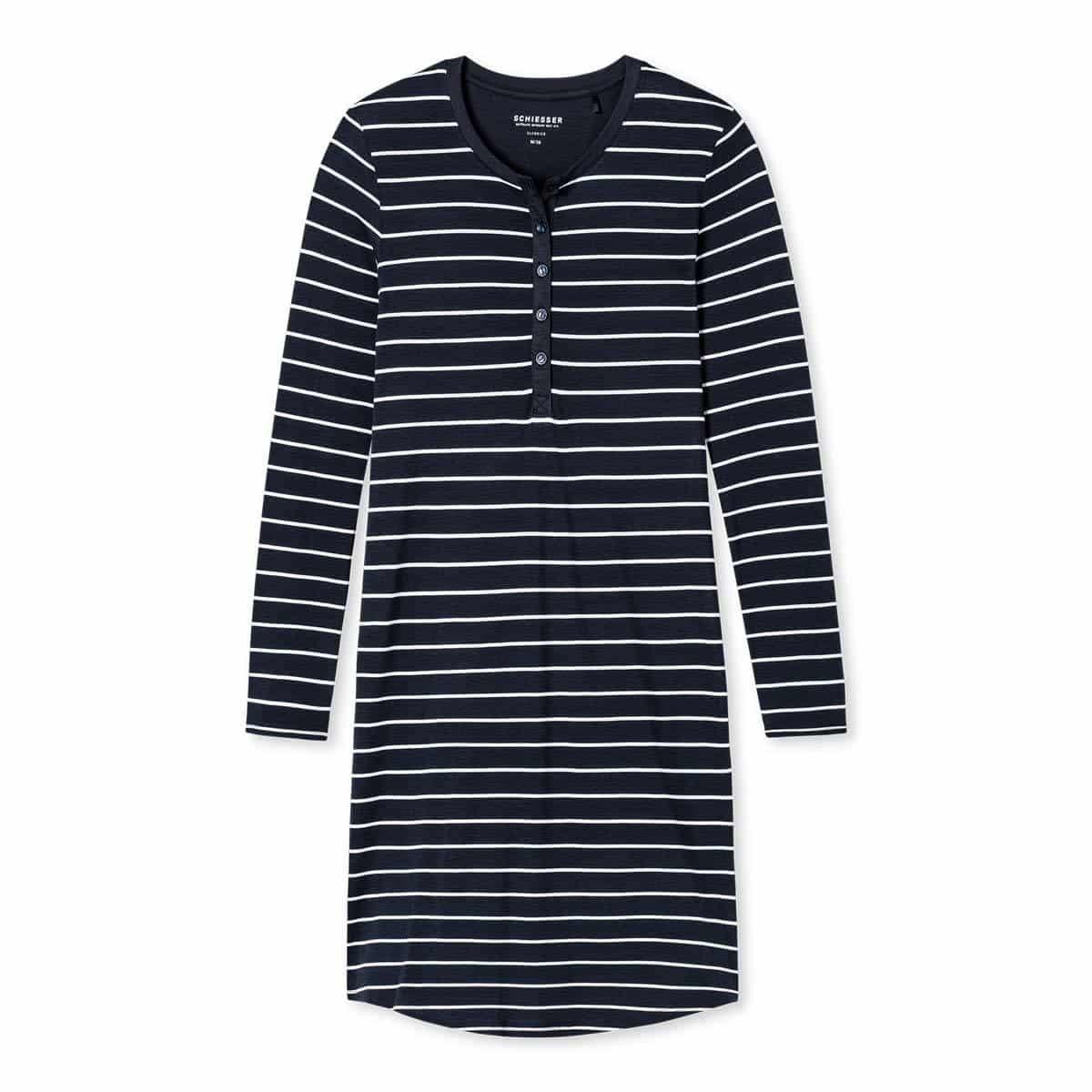 Schiesser Damen Nachthemd langarm nachtblau