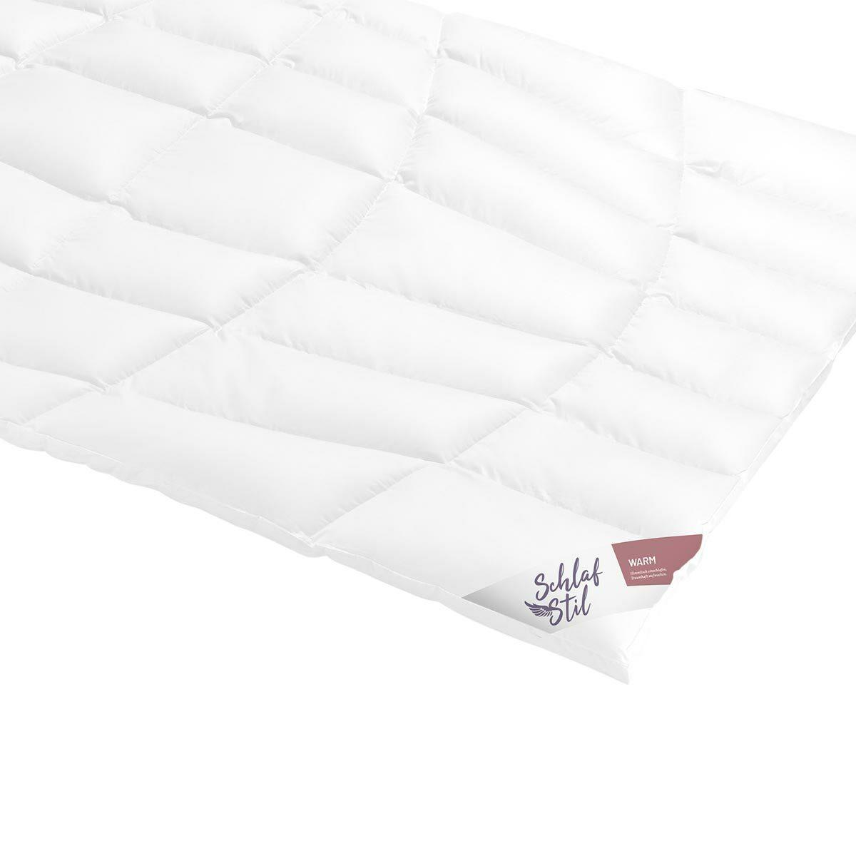 Schlafstil Daunendecke D1000 warm, Füllung: 100% Eiderdaunen