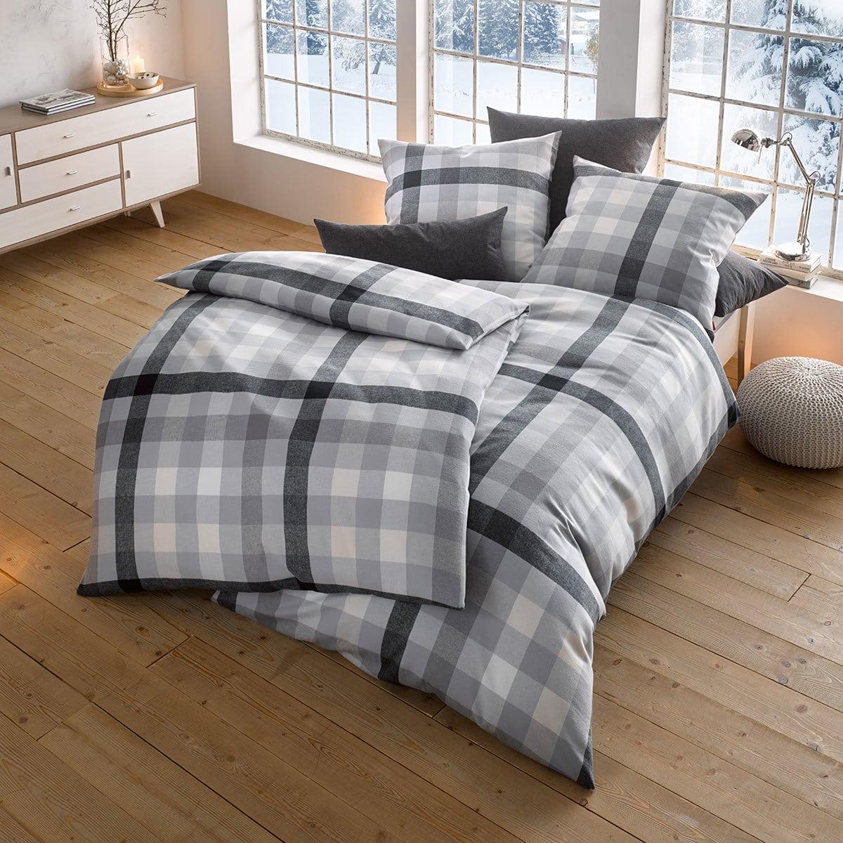fleuresse edelflanell bettw sche karo 603742 01 grau g nstig online kaufen bei bettwaren shop. Black Bedroom Furniture Sets. Home Design Ideas