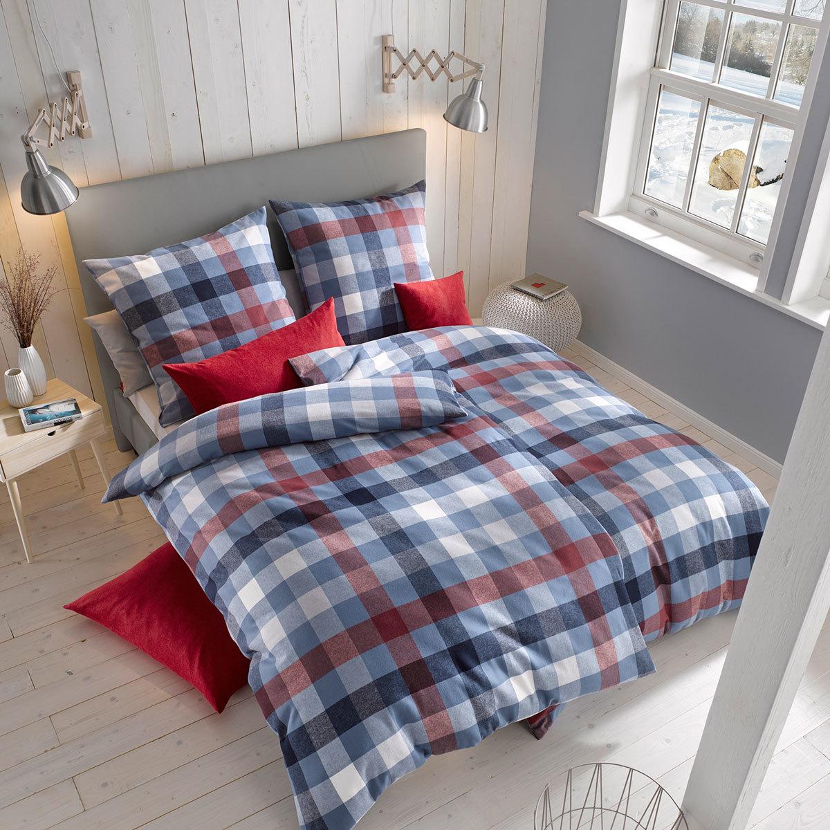 fleuresse edelflanell bettw sche karo 603742 12 dark denim g nstig online kaufen bei bettwaren shop. Black Bedroom Furniture Sets. Home Design Ideas