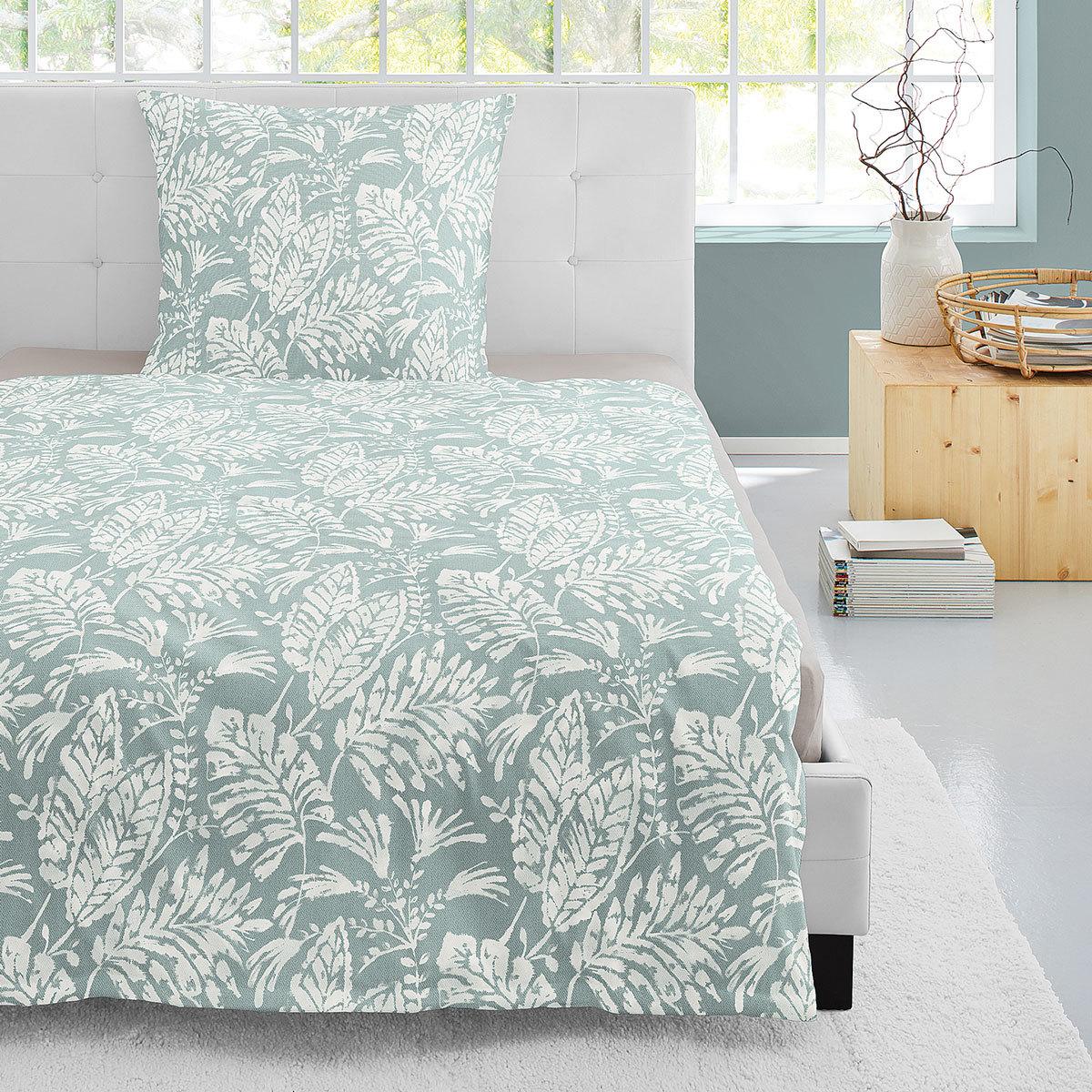 Irisette Edelflanell Bettwäsche Nubis-K Palmblätter grün