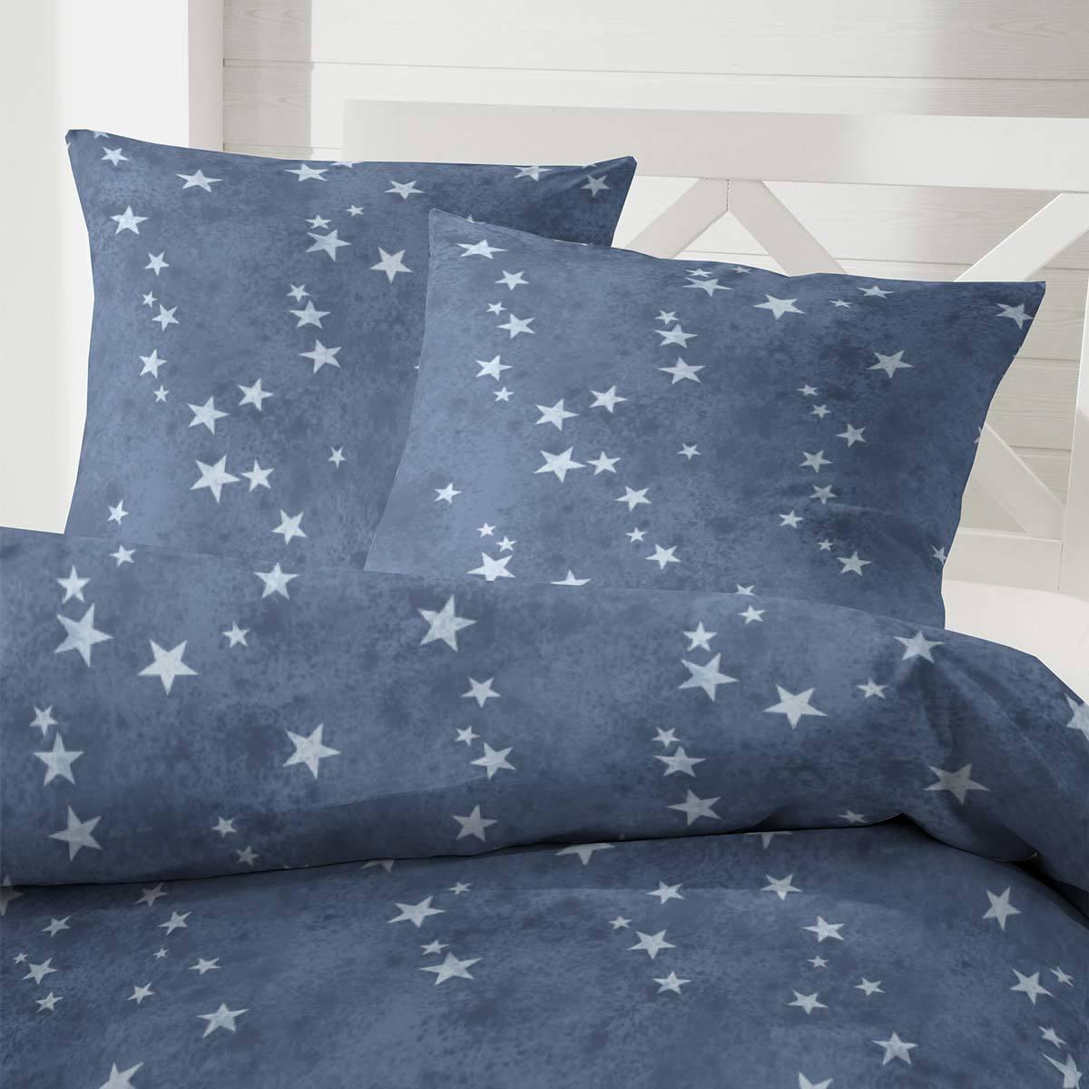 enrico coss edelflanell bettw sche sterne blau g nstig online kaufen bei bettwaren shop. Black Bedroom Furniture Sets. Home Design Ideas