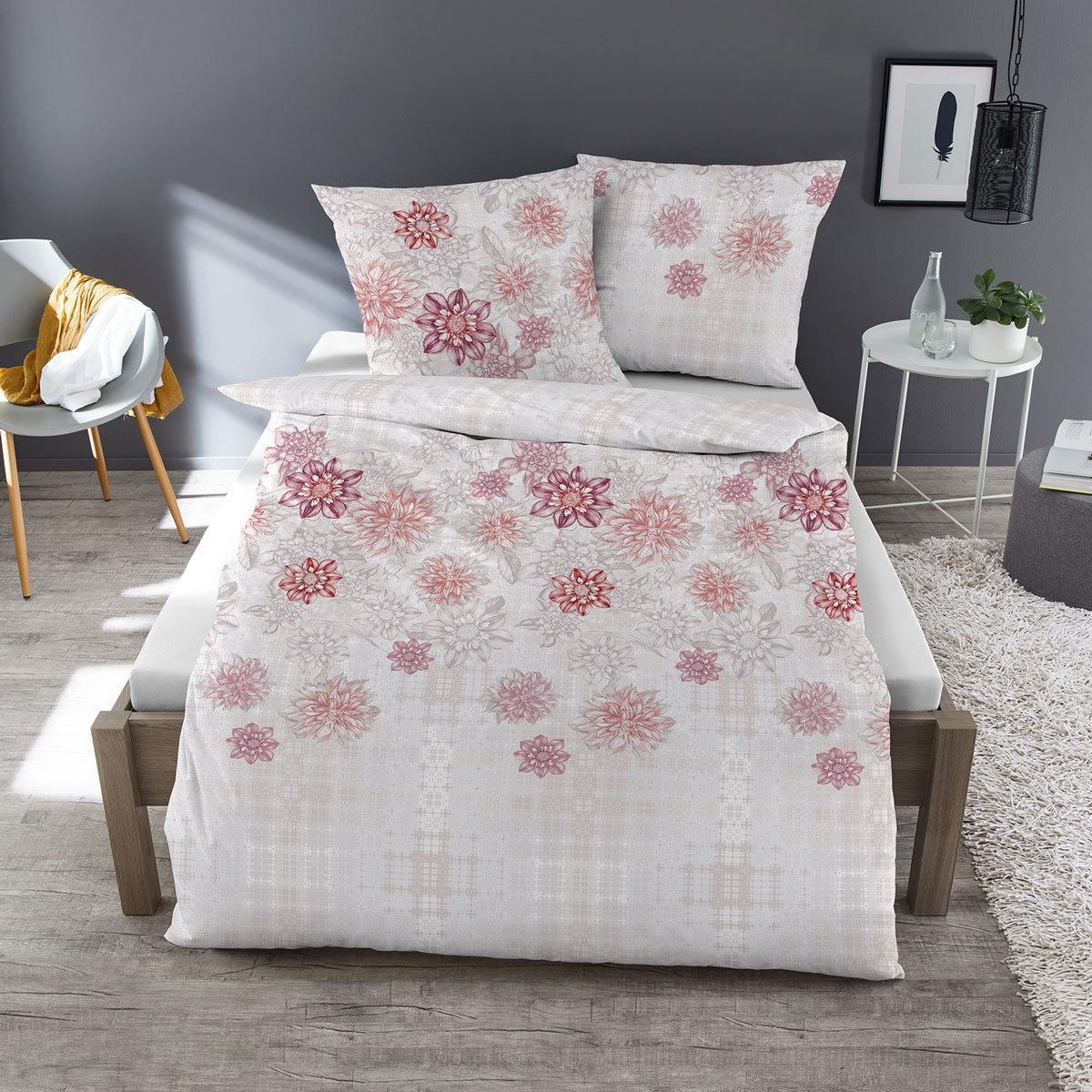 Dormisette Feinbiber Bettwäsche Blüten weiß