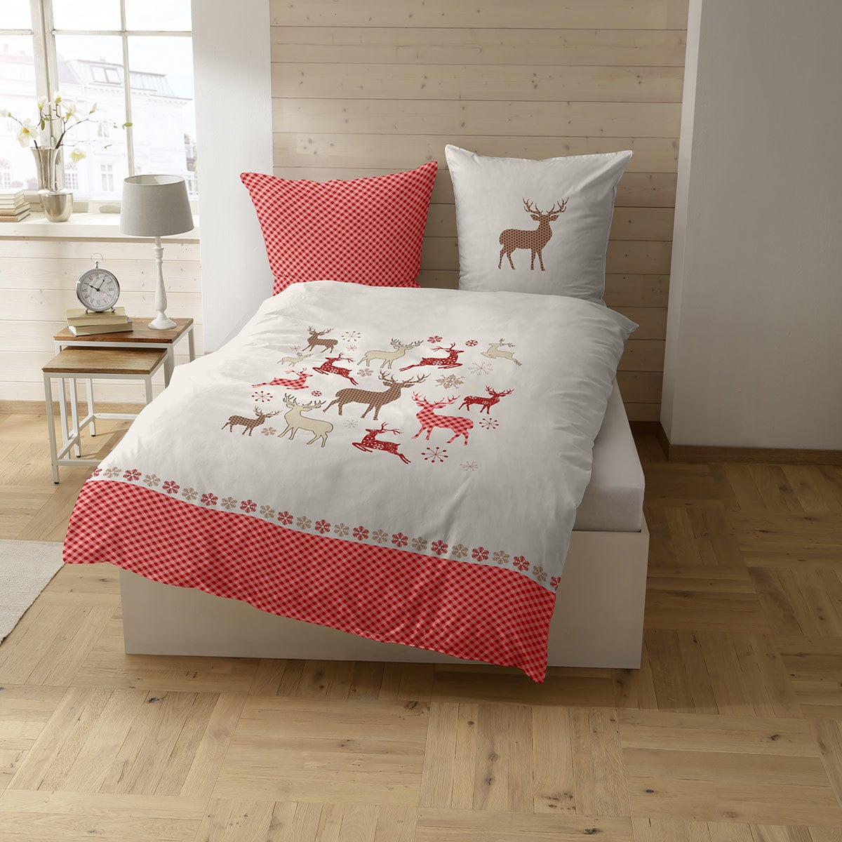 casatex feinbiber bettw sche felino rot beige g nstig online kaufen bei bettwaren shop. Black Bedroom Furniture Sets. Home Design Ideas