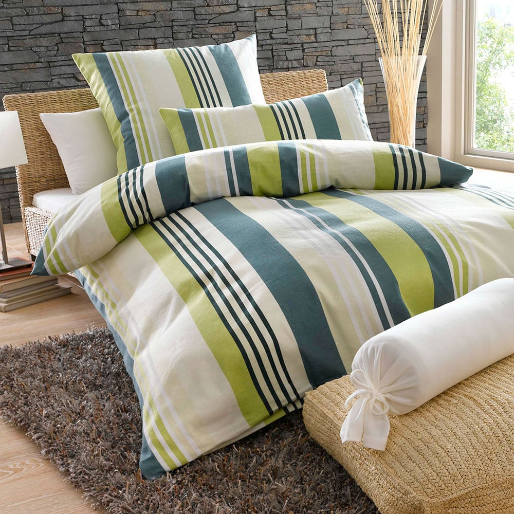 bettwarenshop feinbiber bettw sche green stripes g nstig online kaufen bei bettwaren shop. Black Bedroom Furniture Sets. Home Design Ideas