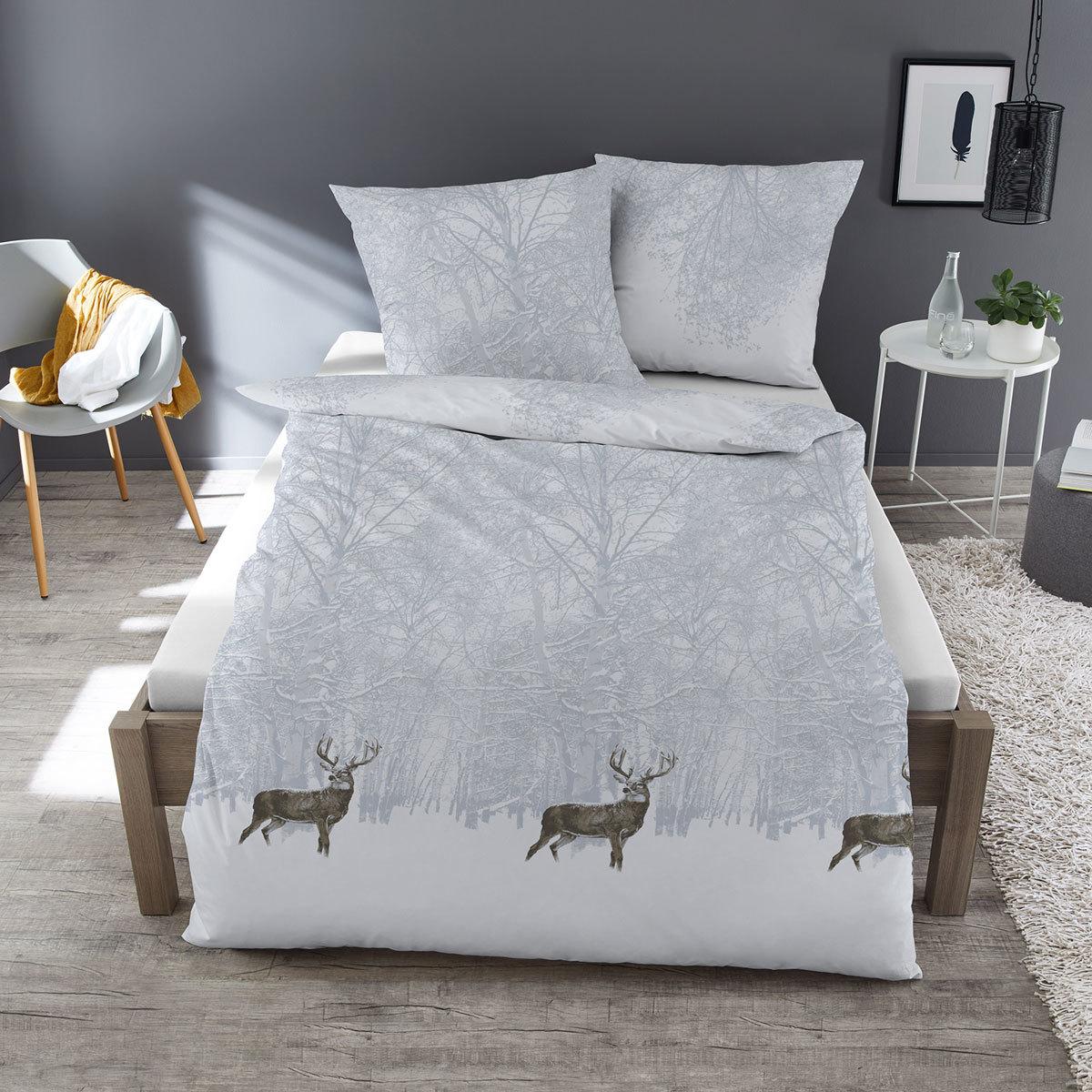 dormisette feinbiber bettw sche hirsch wei g nstig online. Black Bedroom Furniture Sets. Home Design Ideas