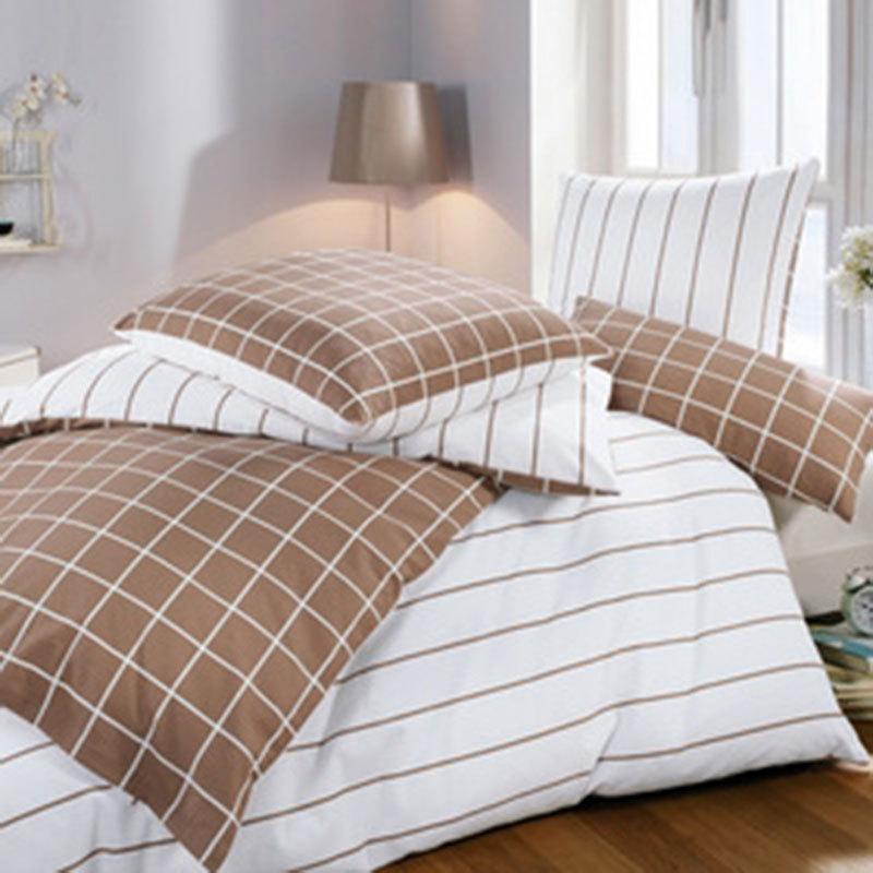 bettwarenshop feinbiber bettw sche karo streifen braun g nstig online kaufen bei bettwaren shop. Black Bedroom Furniture Sets. Home Design Ideas