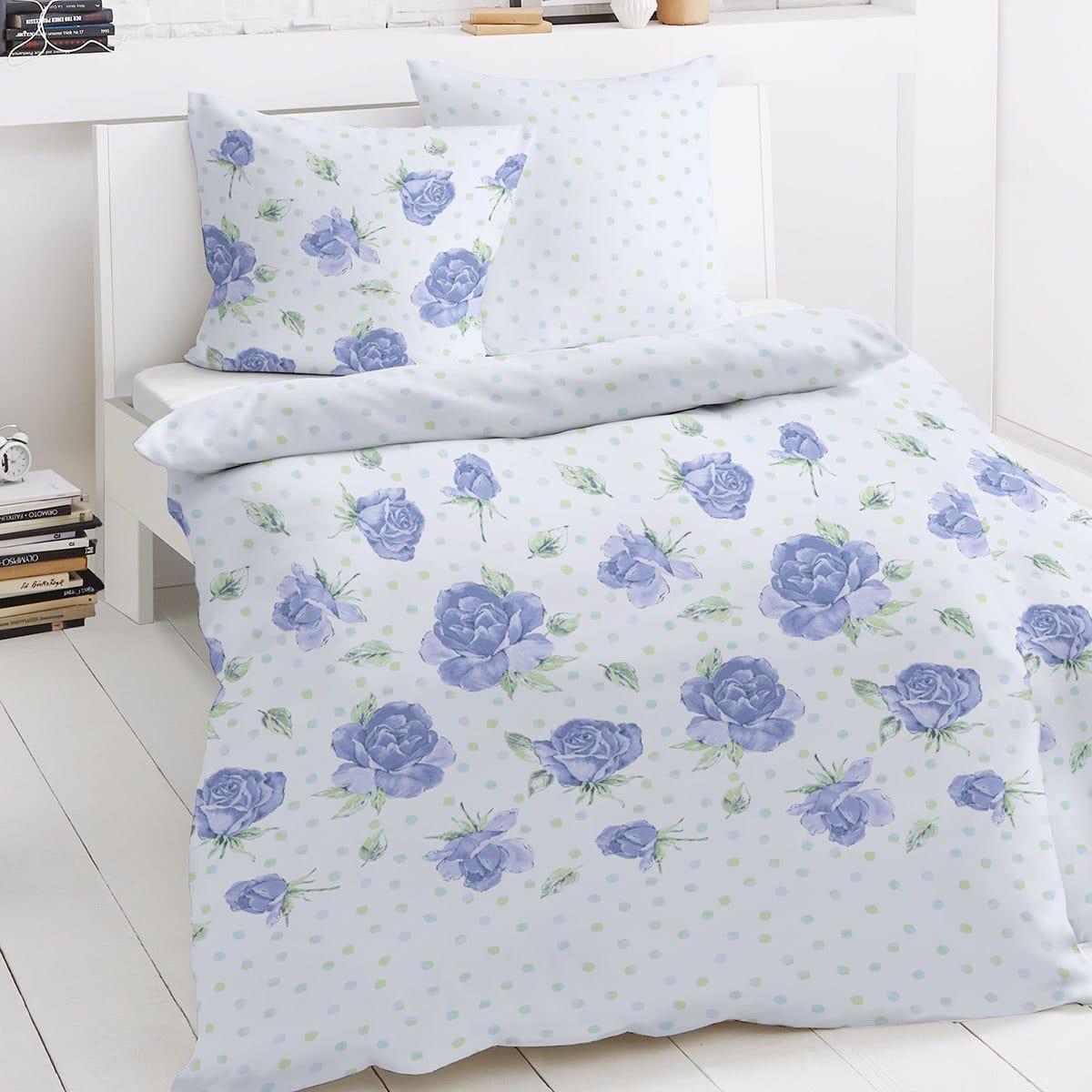 traumschlaf feinbiber bettw sche punkte blau g nstig online kaufen bei bettwaren shop. Black Bedroom Furniture Sets. Home Design Ideas
