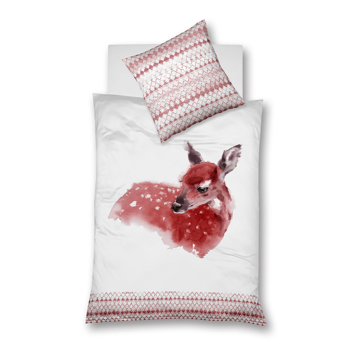 Traumschlaf Feinbiber Bettwäsche Reh berry