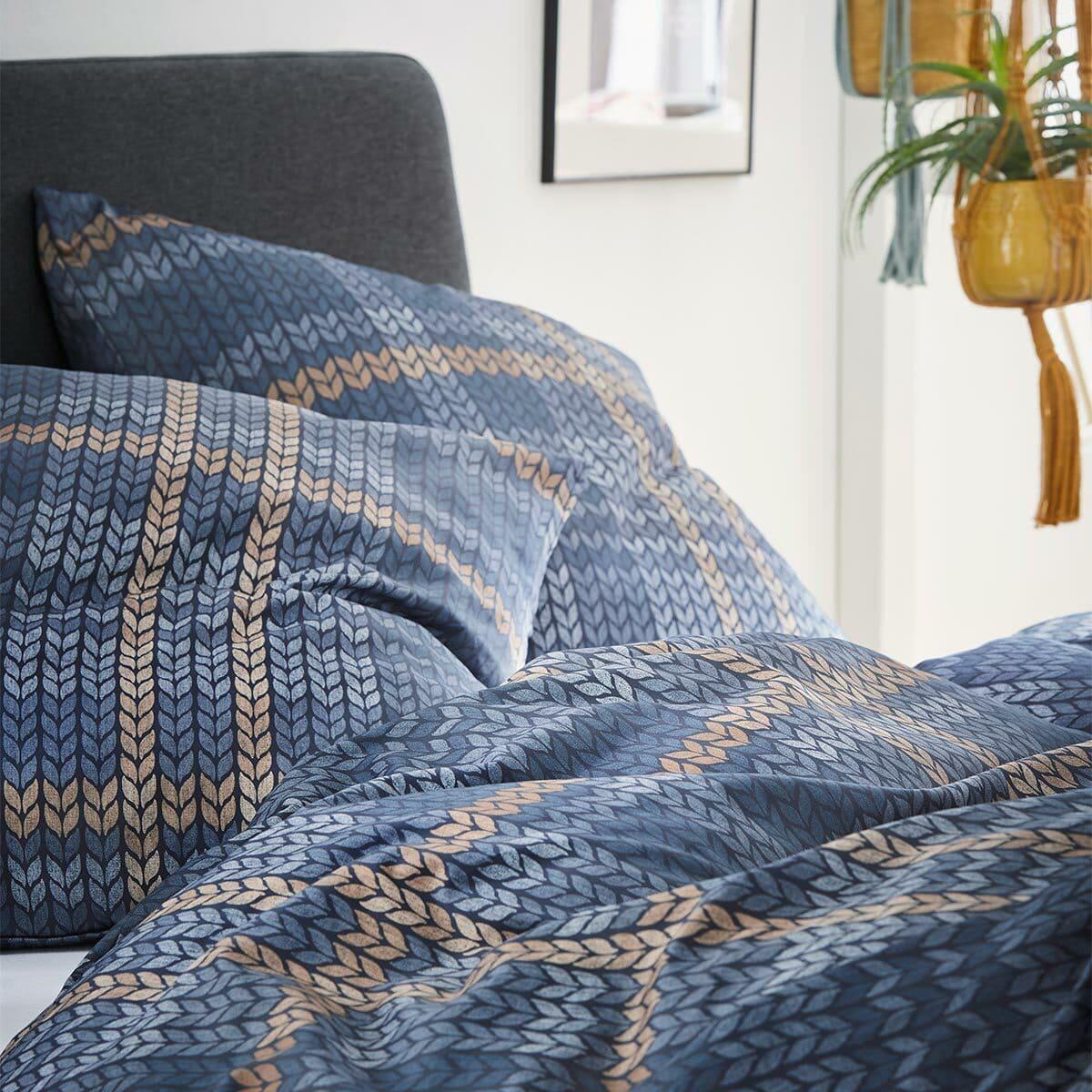 s.Oliver Feinflanell Bettwäsche 6279-640 blau nougatbraun