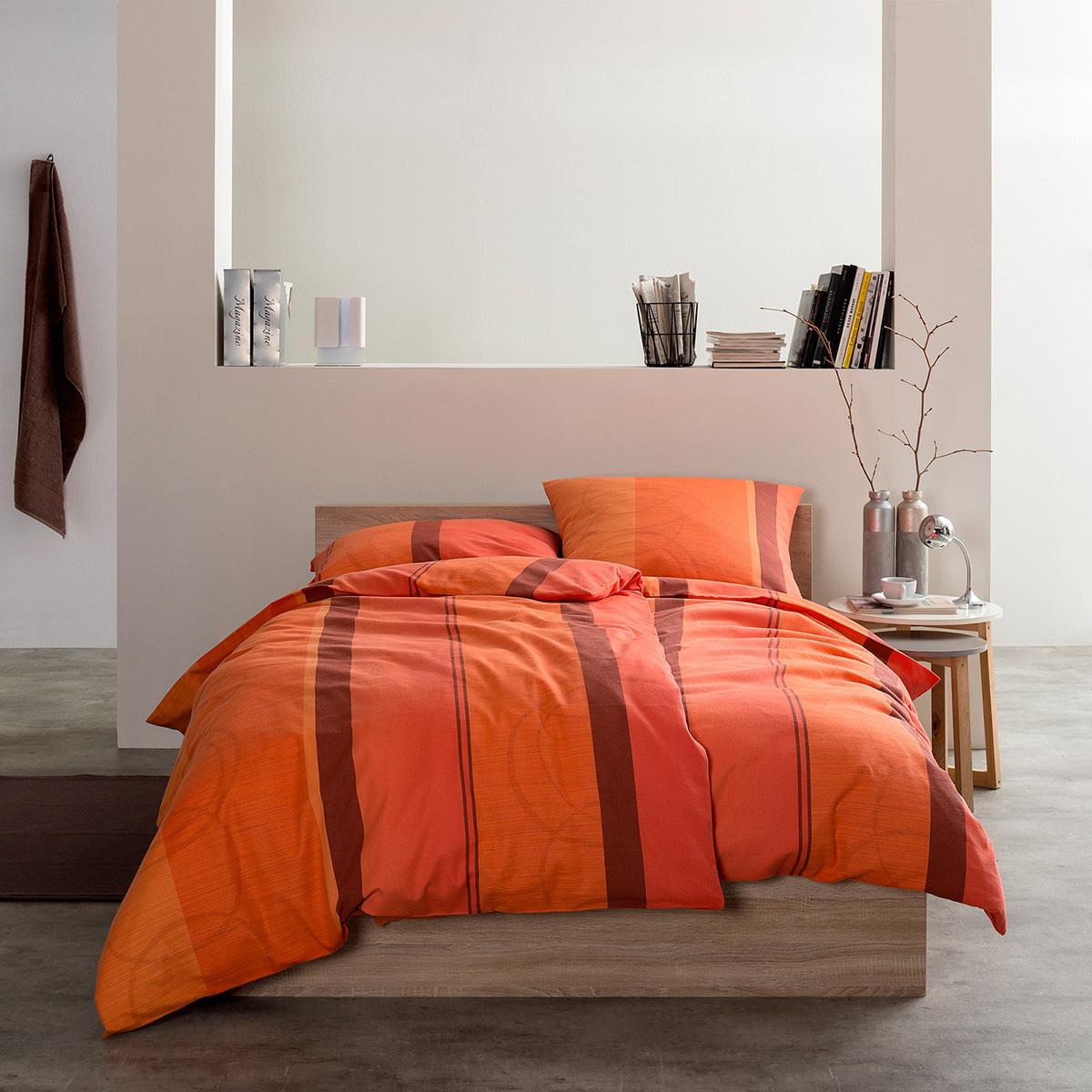 estella feinflanell bettw sche dolomiti orange g nstig online kaufen bei bettwaren shop. Black Bedroom Furniture Sets. Home Design Ideas