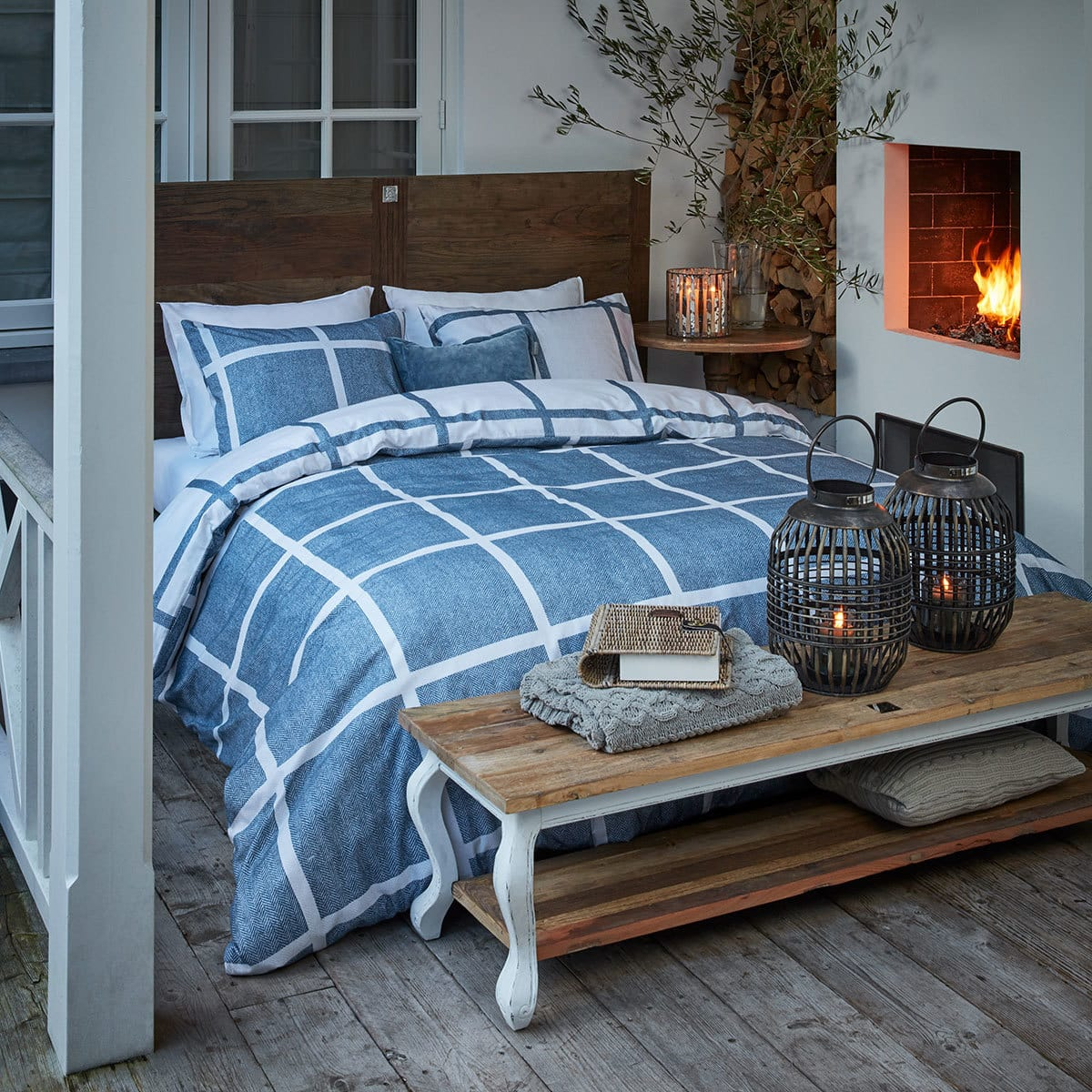 riviera maison flanell bettw sche grand street blue. Black Bedroom Furniture Sets. Home Design Ideas