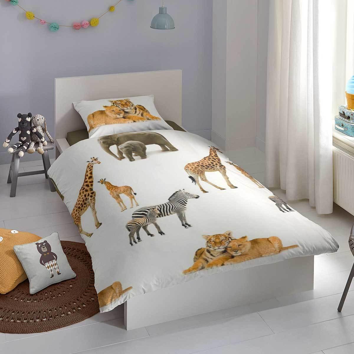Good Morning Flanell Bettwäsche Löwen Zebras Giraffen