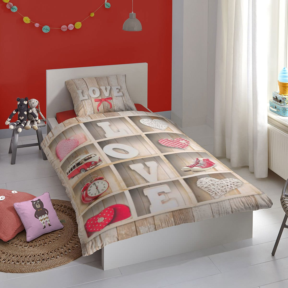 good morning flanell bettw sche love multi g nstig online kaufen bei bettwaren shop. Black Bedroom Furniture Sets. Home Design Ideas