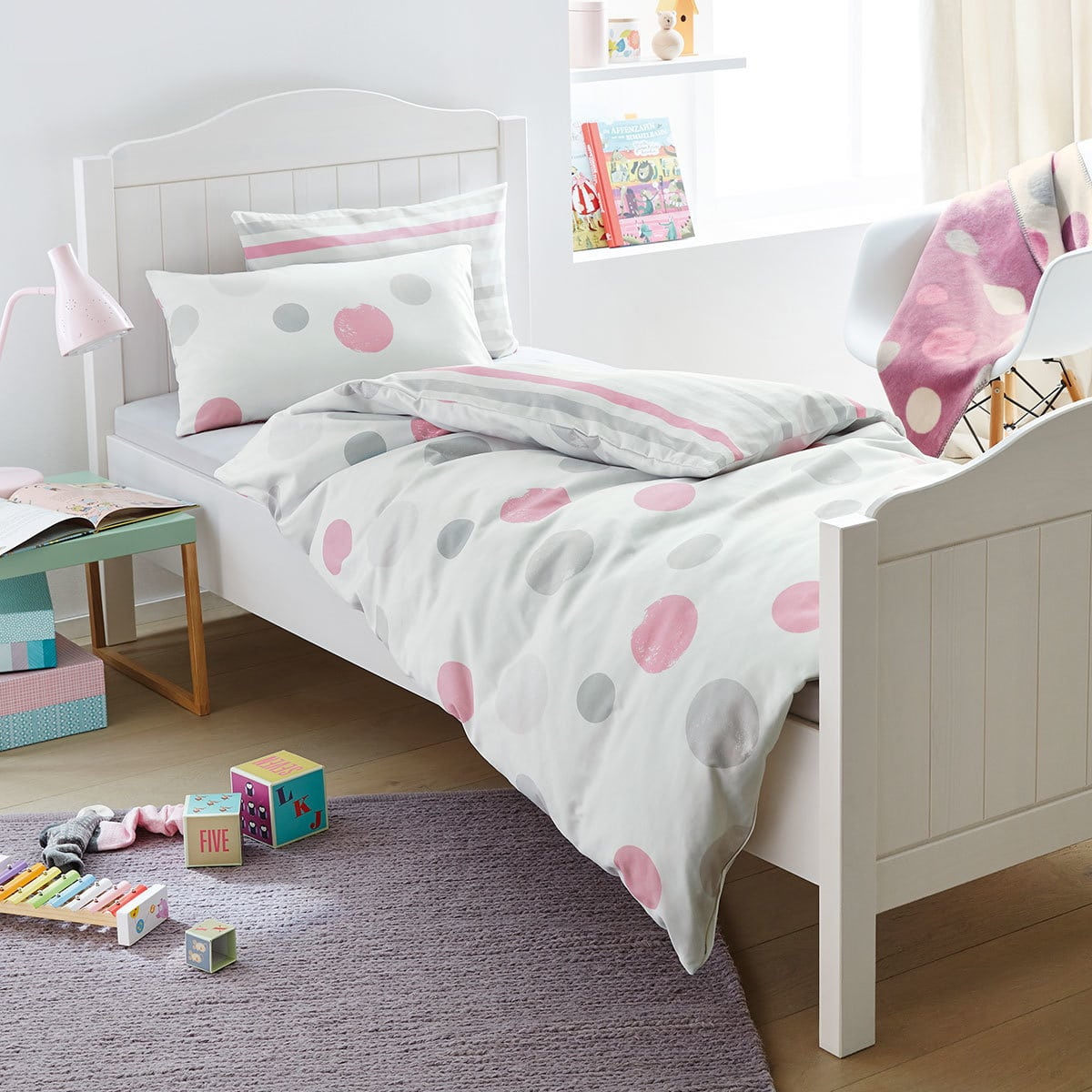 s oliver flanell bettw sche punkte rosa g nstig online kaufen bei bettwaren shop. Black Bedroom Furniture Sets. Home Design Ideas