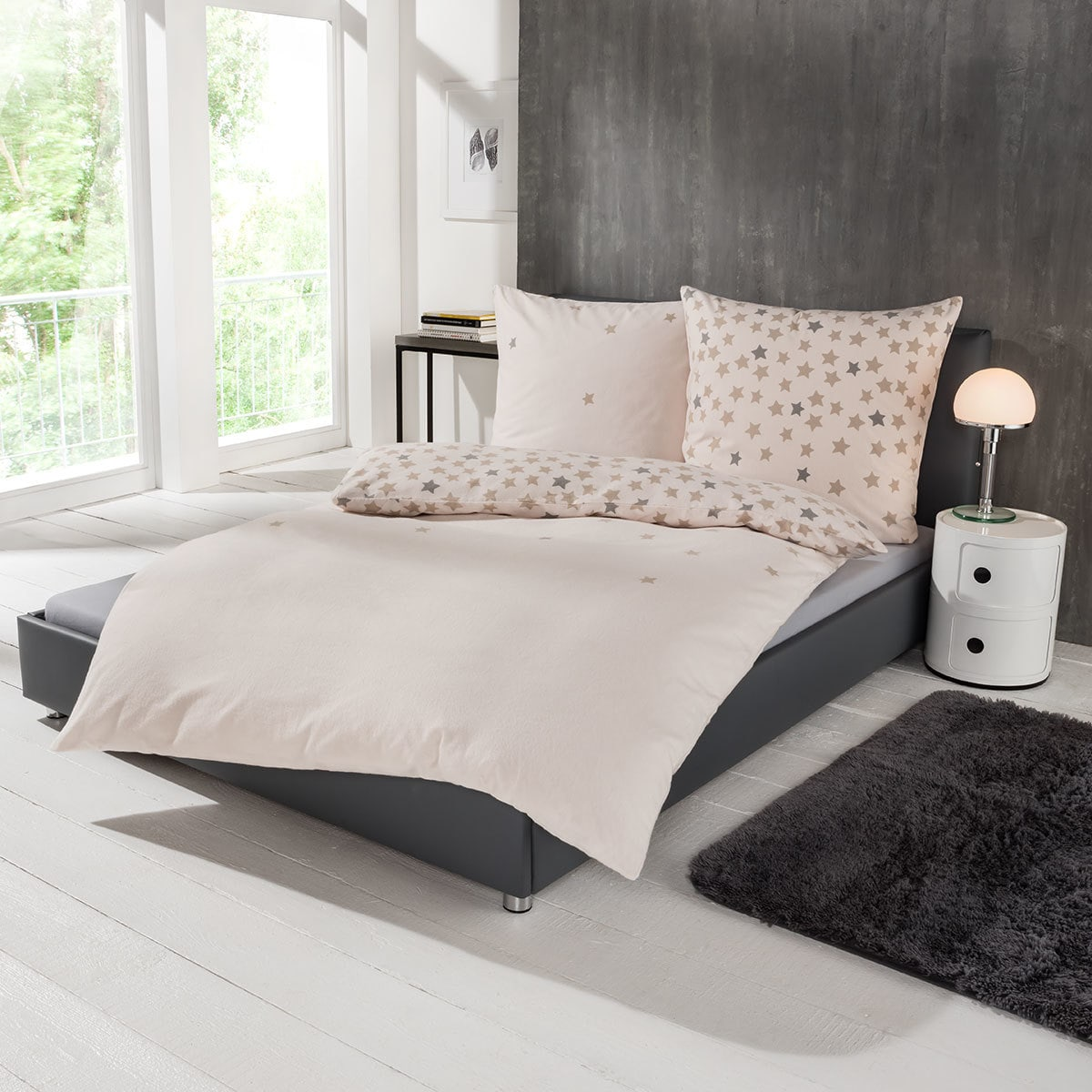 s oliver flanell bettw sche sterne g nstig online kaufen bei bettwaren shop. Black Bedroom Furniture Sets. Home Design Ideas