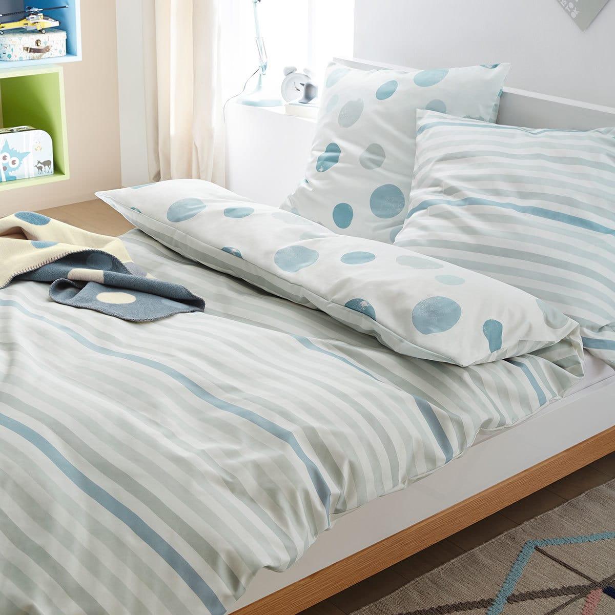 s oliver flanell kinderbettw sche streifen blau g nstig online kaufen bei bettwaren shop. Black Bedroom Furniture Sets. Home Design Ideas