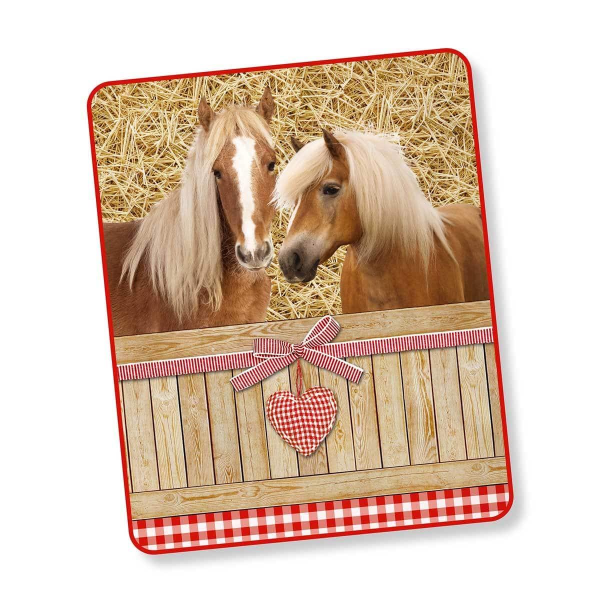 good morning fleecedecke wendeplaid pferde g nstig online kaufen bei bettwaren shop. Black Bedroom Furniture Sets. Home Design Ideas