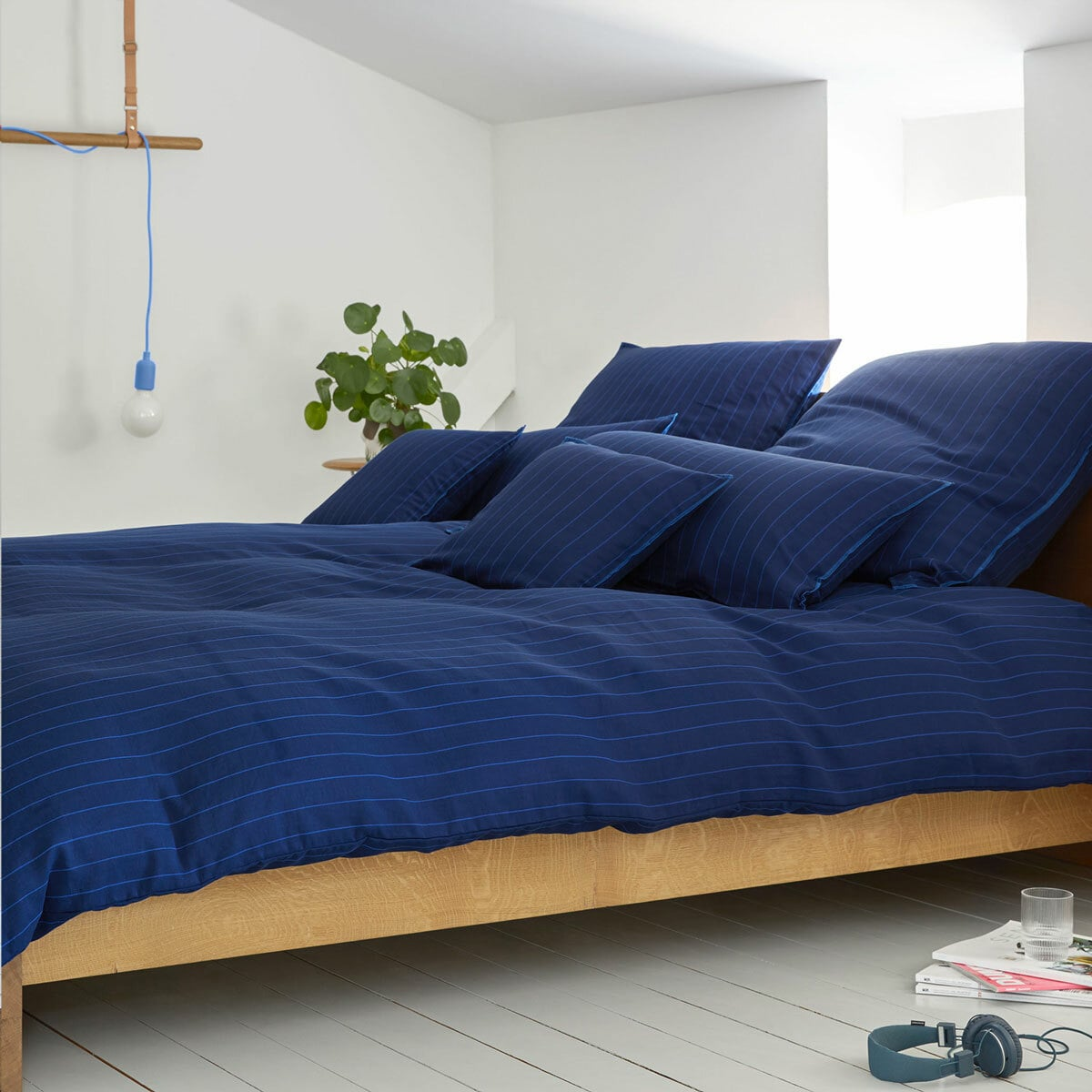 elegante Halbleinen Bettwäsche Pop blue