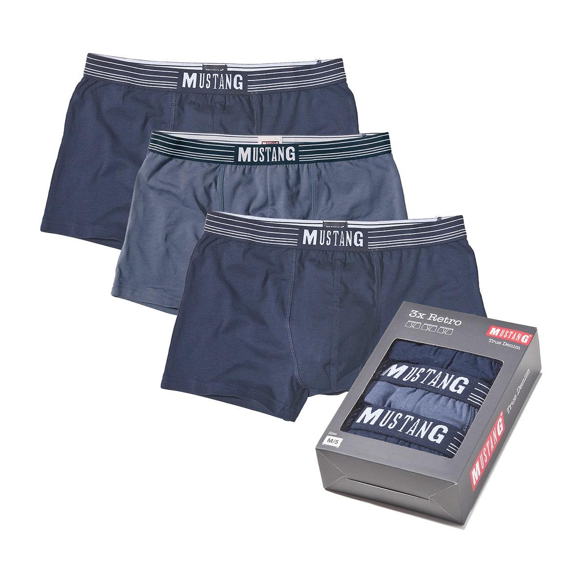Mustang Herren 3er Pack Boxershorts Retro navy