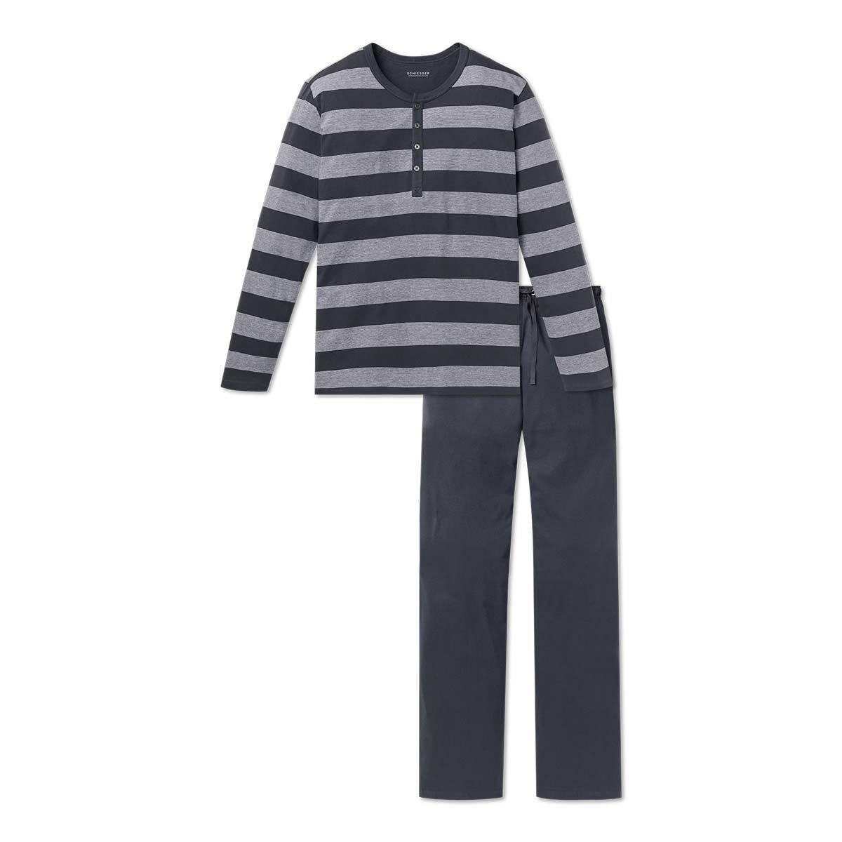 Schiesser Herren Schlafanzug Pyjama lang anthrazit
