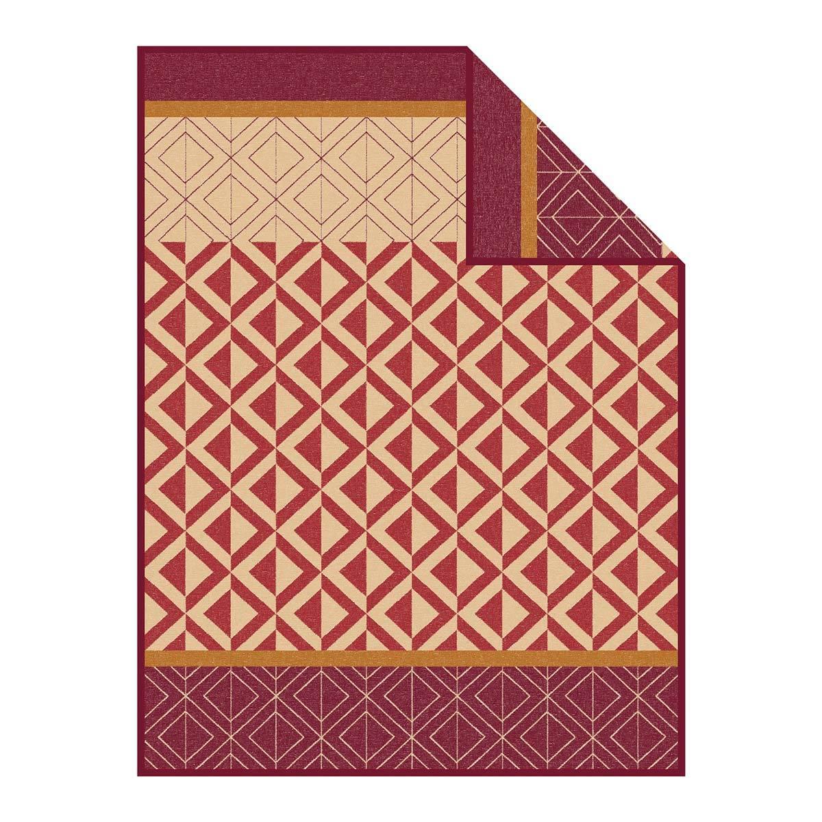 Ibena Jacquard Decke Kaschan 1652-430 rotbraun/camel
