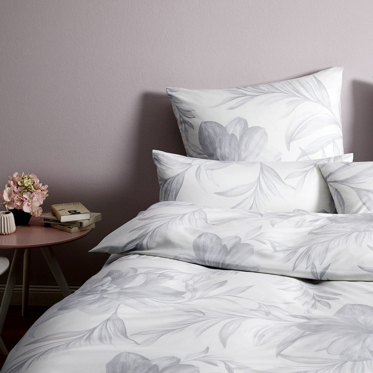 Elegante Jersey Bettwäsche Blossom Silbergrau Günstig Online Kaufen