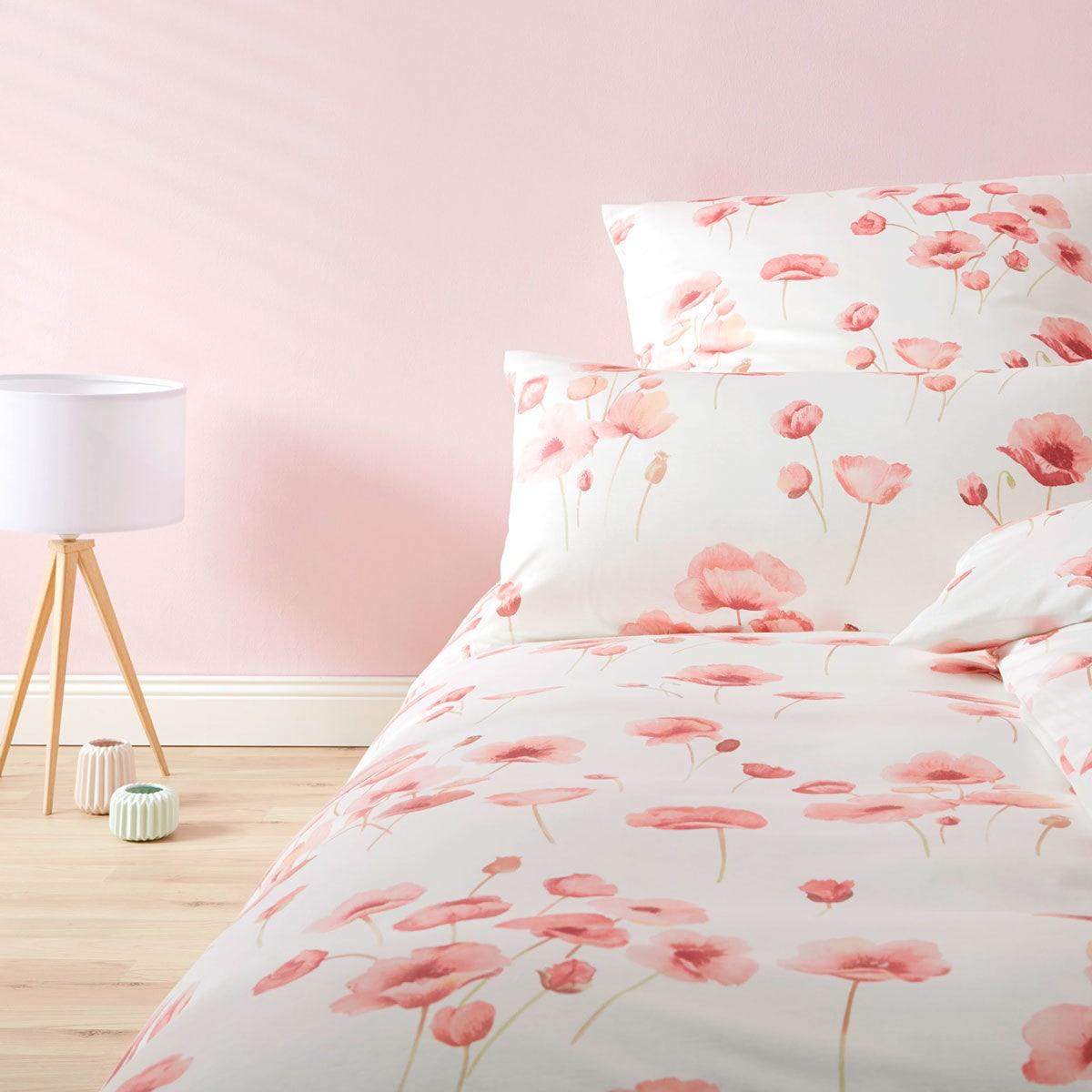 elegante Jersey Bettwäsche Blütenmeer weiss