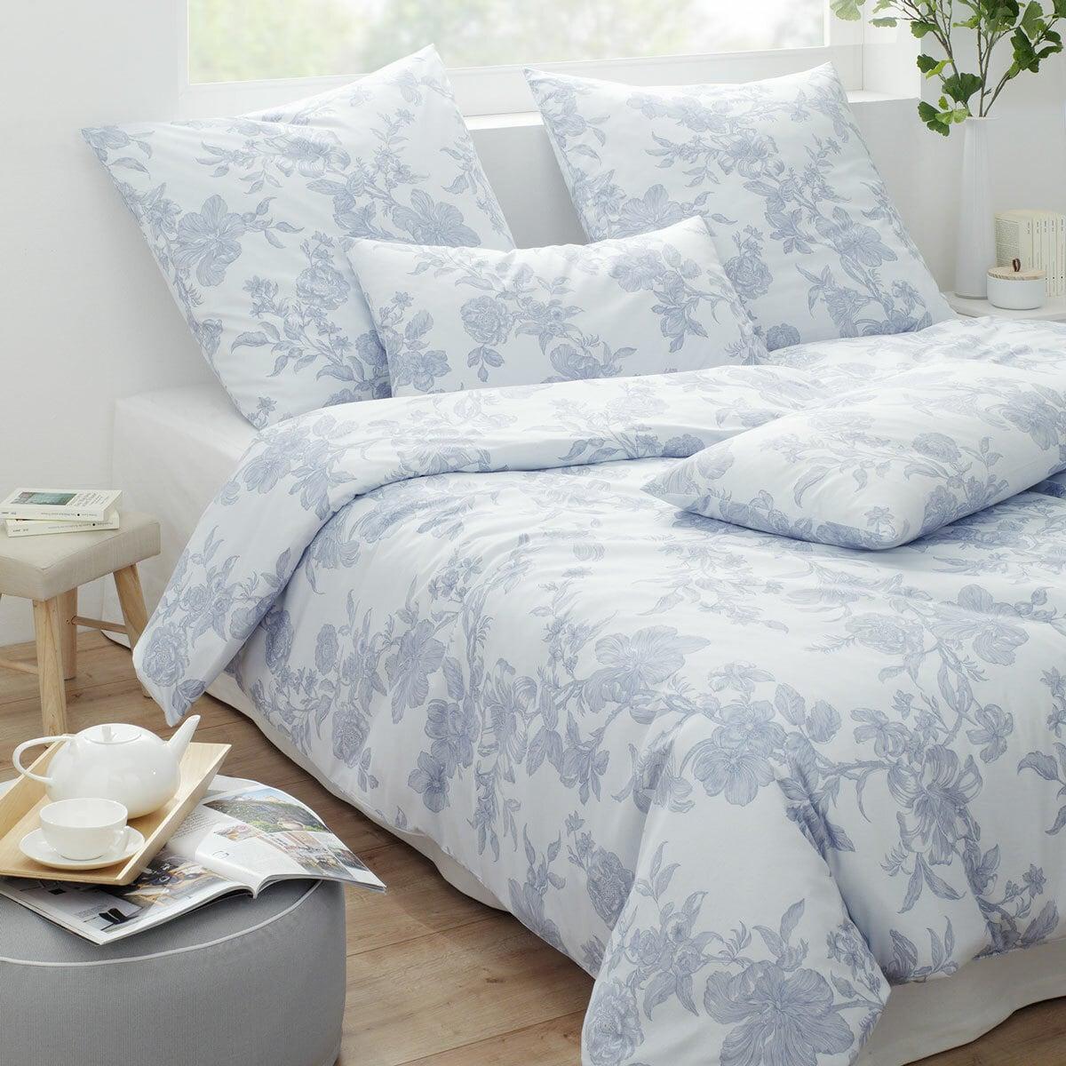 elegante Jersey Bettwäsche Finesse pastellblau